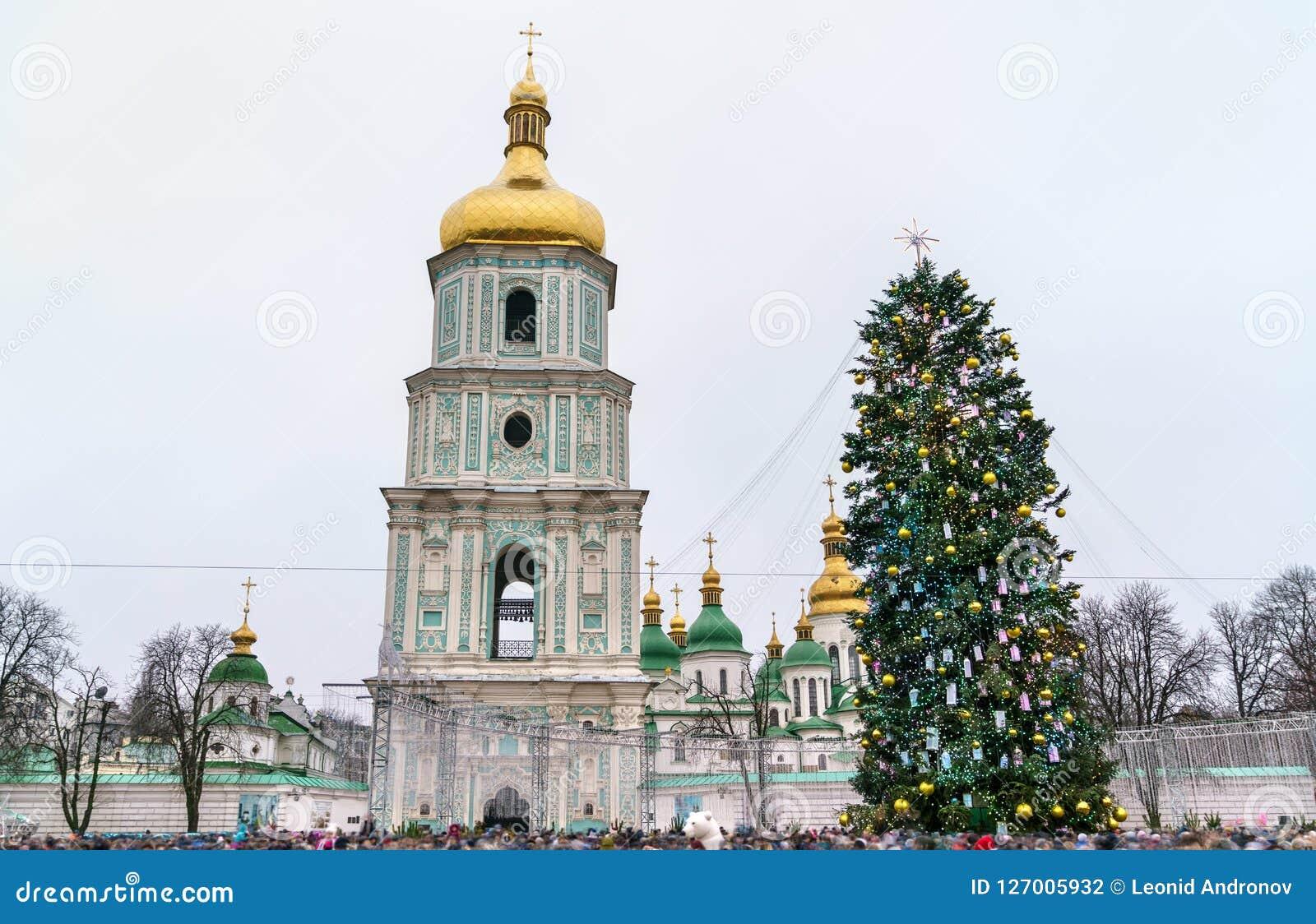 圣诞树和圣徒索菲娅大教堂,联合国科教文组织世界遗产在基辅,乌克兰