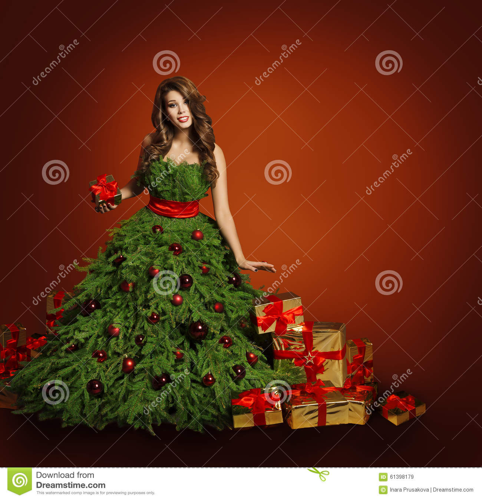 圣诞树时尚妇女礼服,式样女孩,红色礼物