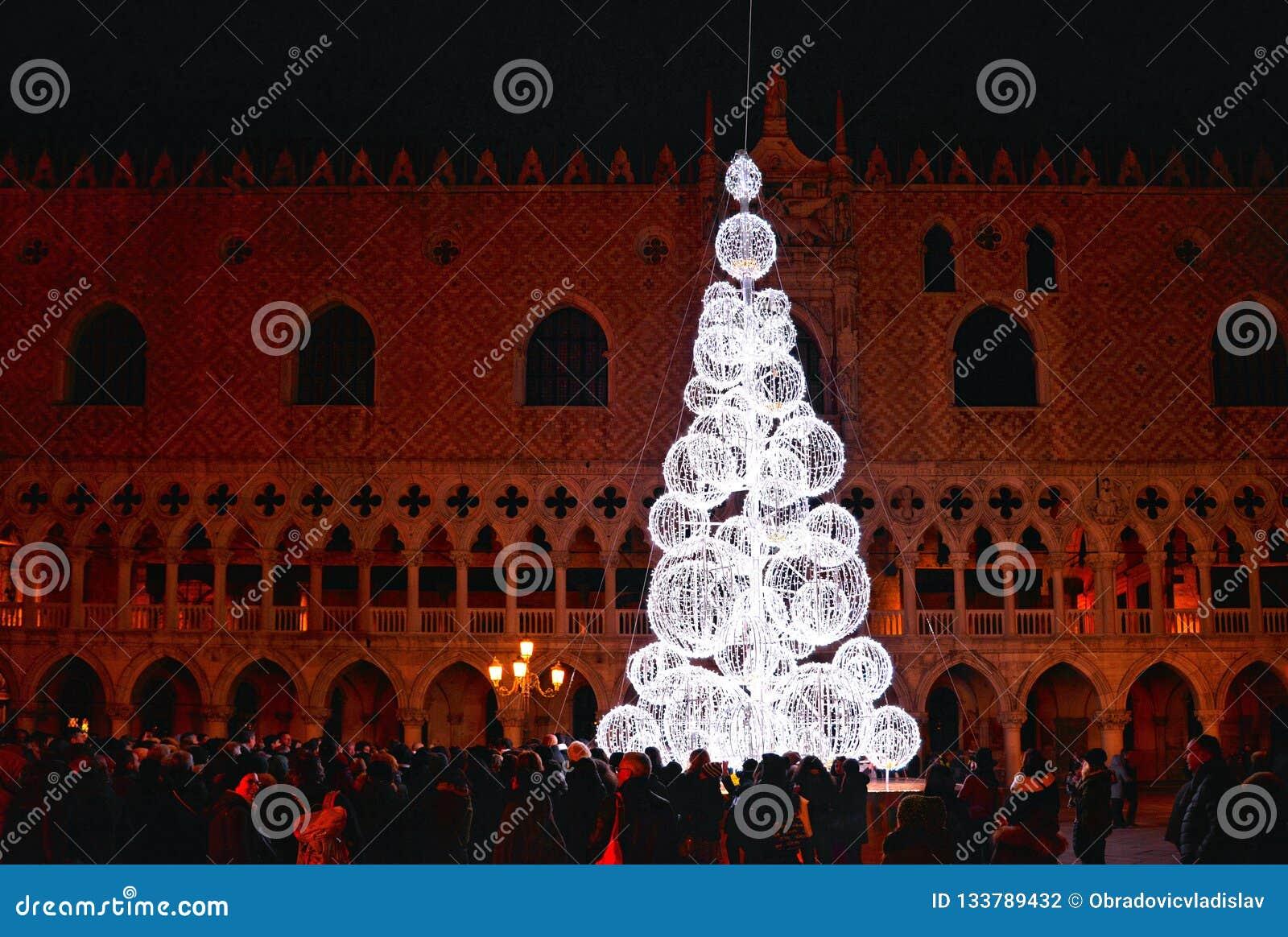 圣诞树的夜视图与美好的光的在共和国总督的宫殿前面在充分圣马尔谷教堂广场人