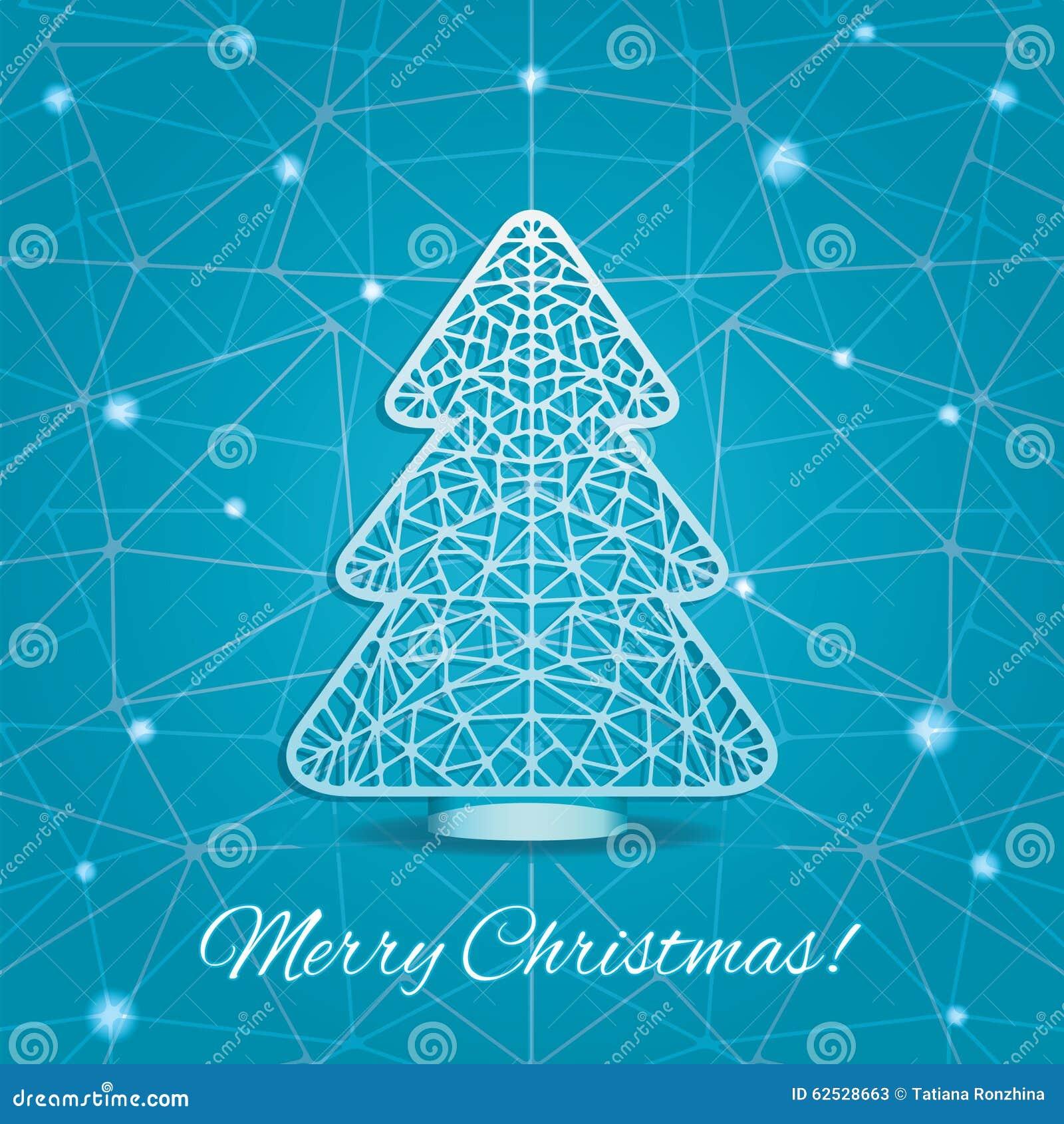 圣诞树风格化切口纸