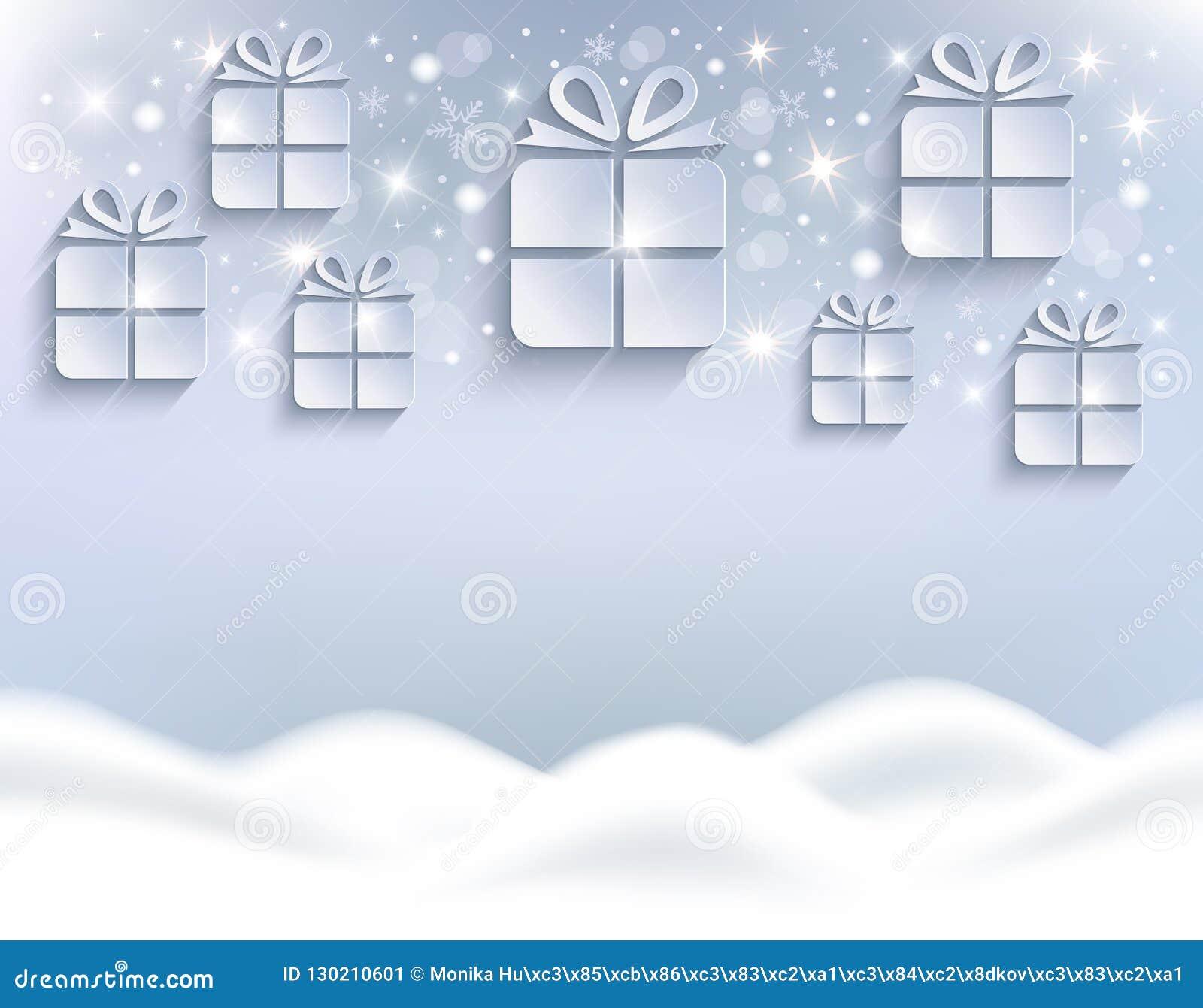 圣诞礼物背景白色贺卡的随风飘飞的雪