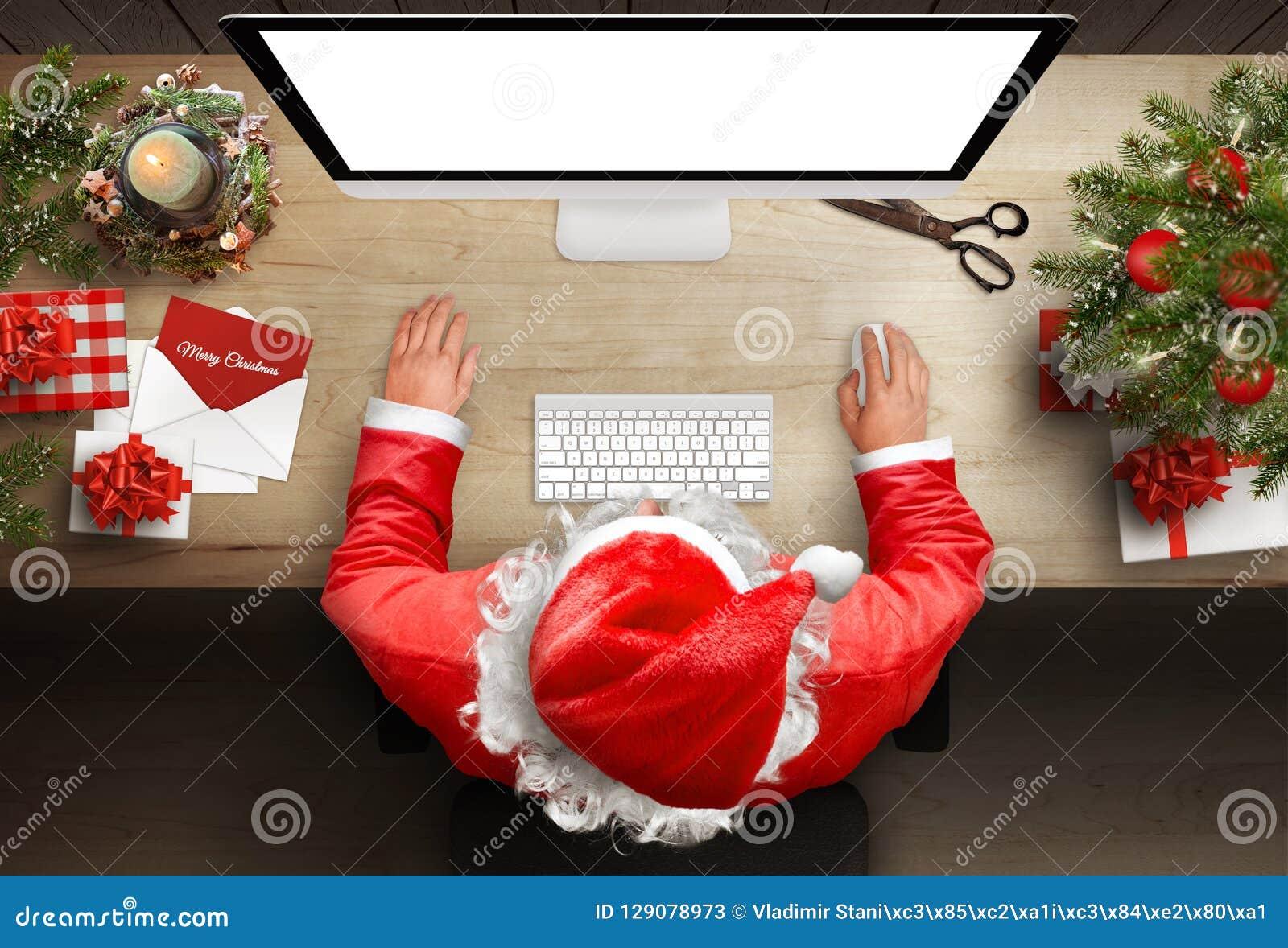 圣诞老人反应信件和贺卡通过电子邮件