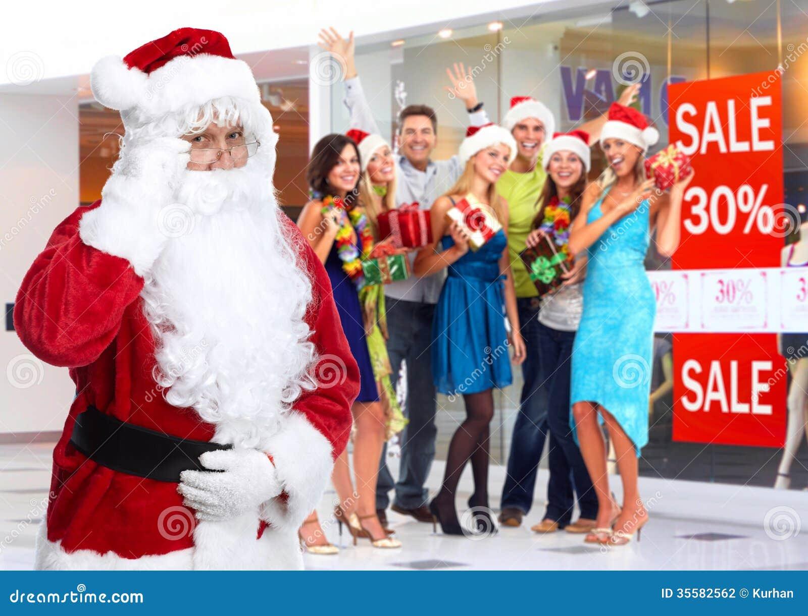 圣诞老人和小组愉快的人民