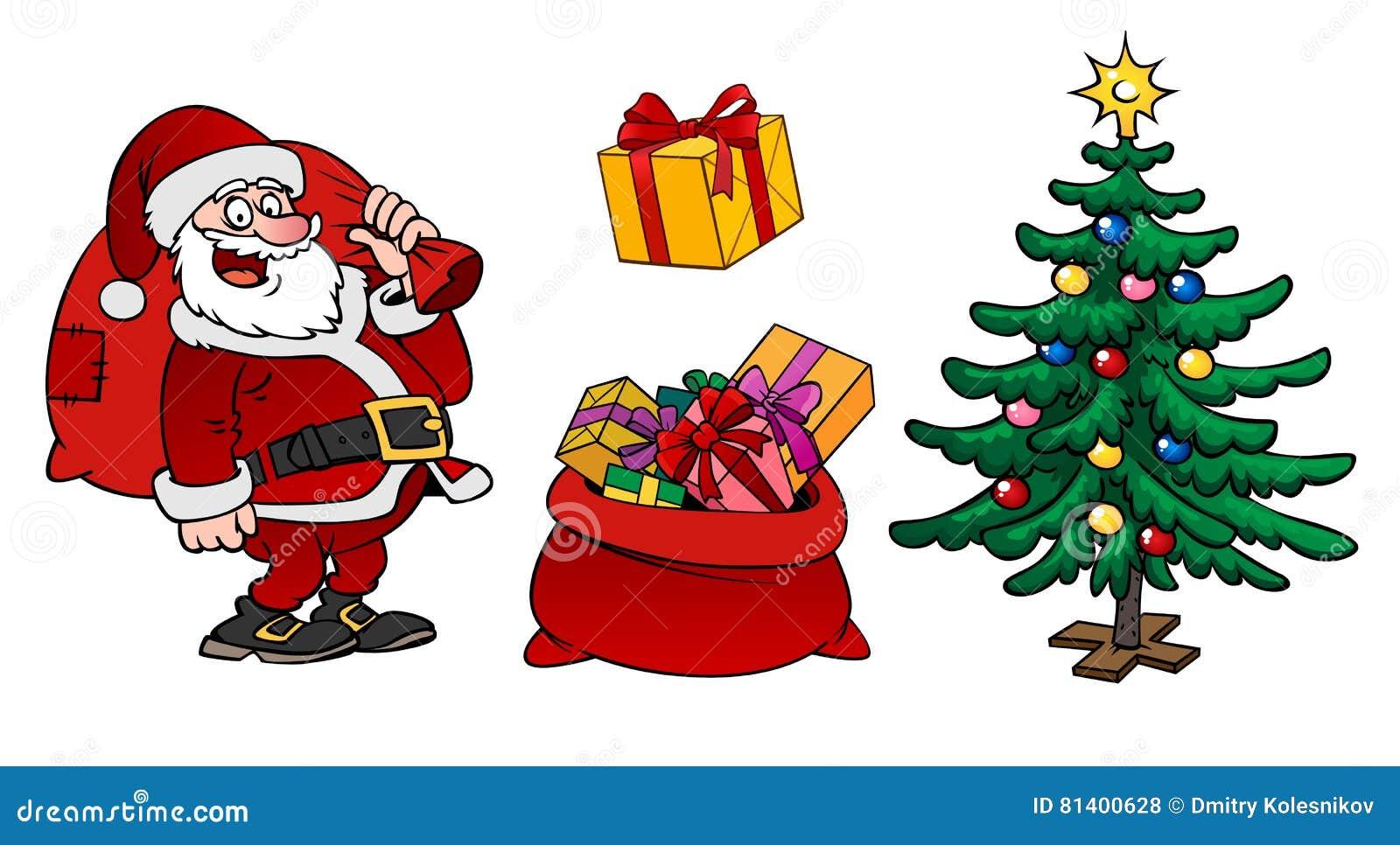 圣诞老人字符、一个袋子与礼物和圣诞树isola