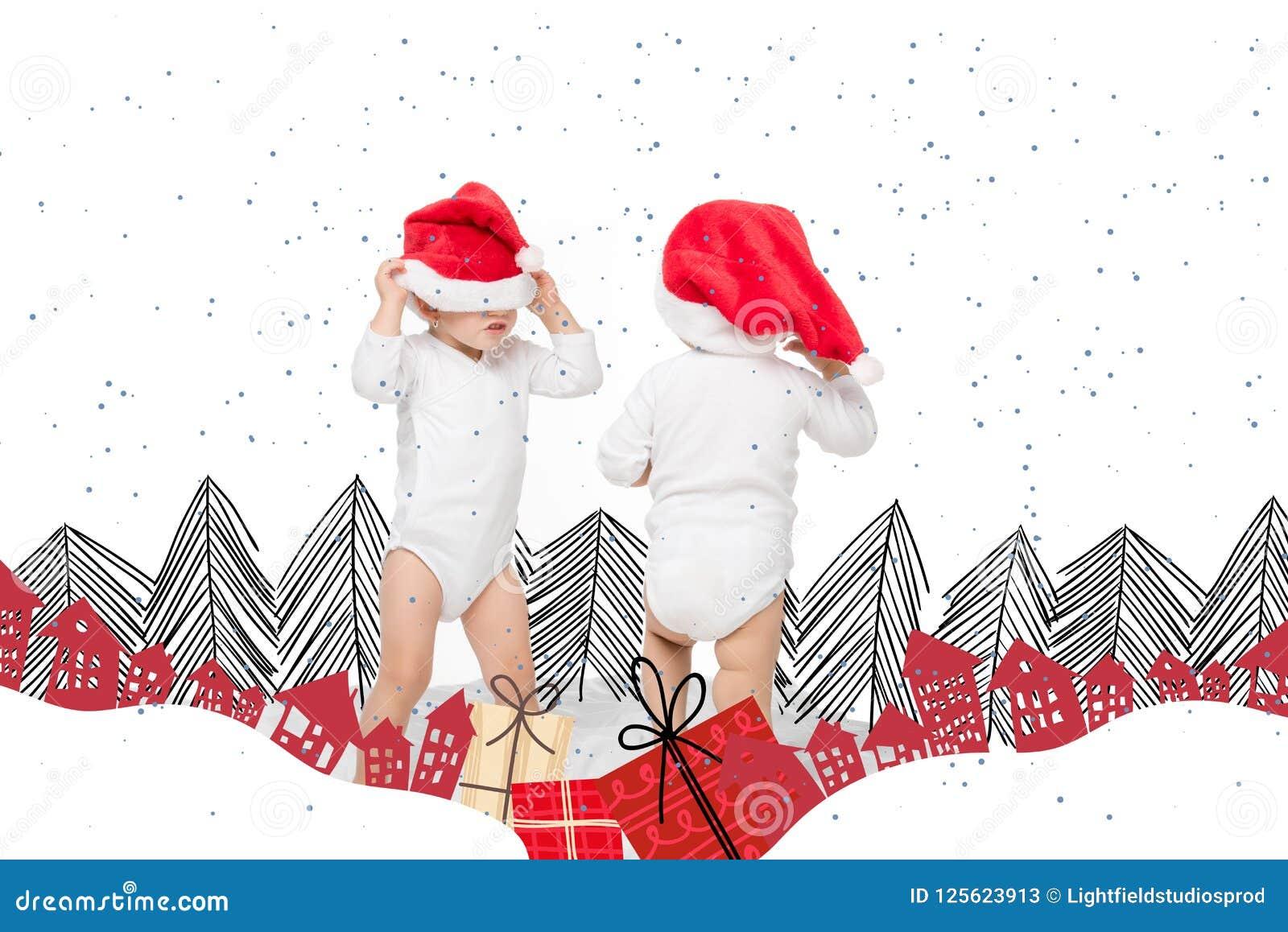 圣诞老人帽子的小孩