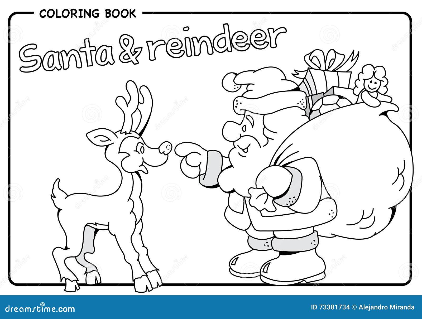 圣诞老人运载的大袋礼物 Amp 驯鹿 圣诞节 着色凹道 向量例证 插画 包括有 辅助工 动画片 线路 礼品