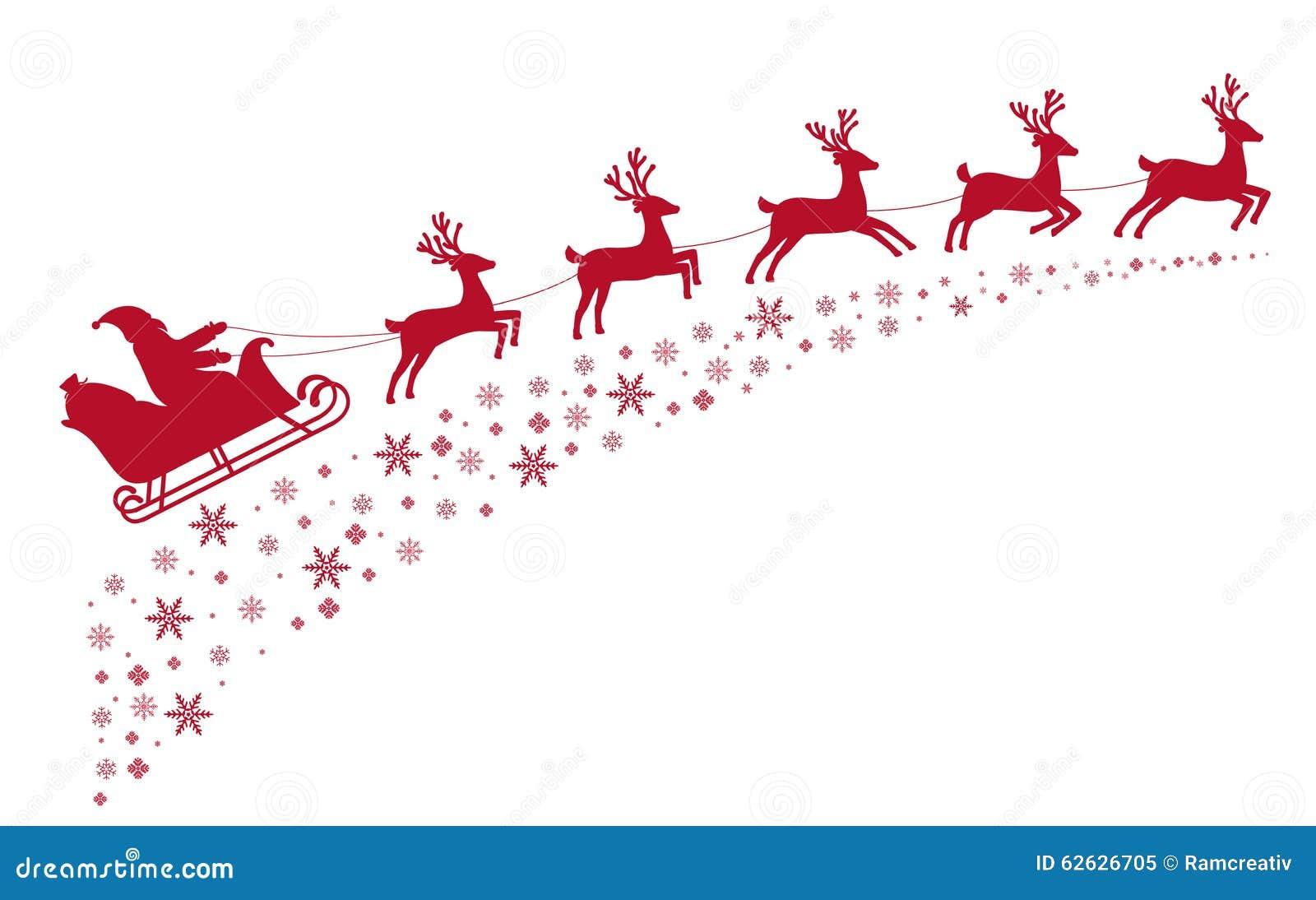 圣诞老人雪橇在积雪的星背景的驯鹿飞行