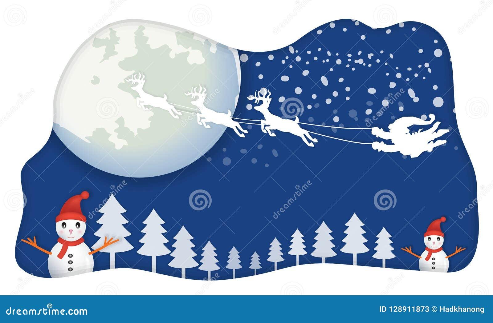圣诞老人,没有雪橇,飞行在蓝天移动由与b的驯鹿