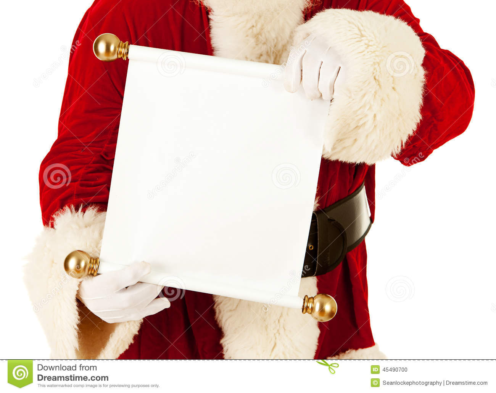 圣诞老人:拿着圣诞节名单纸卷