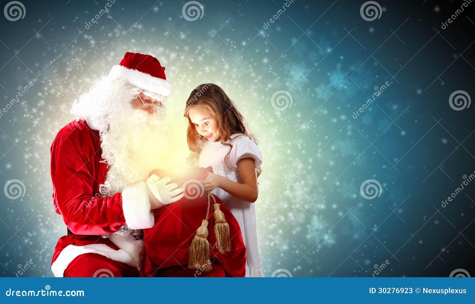 圣诞老人画象有女孩的