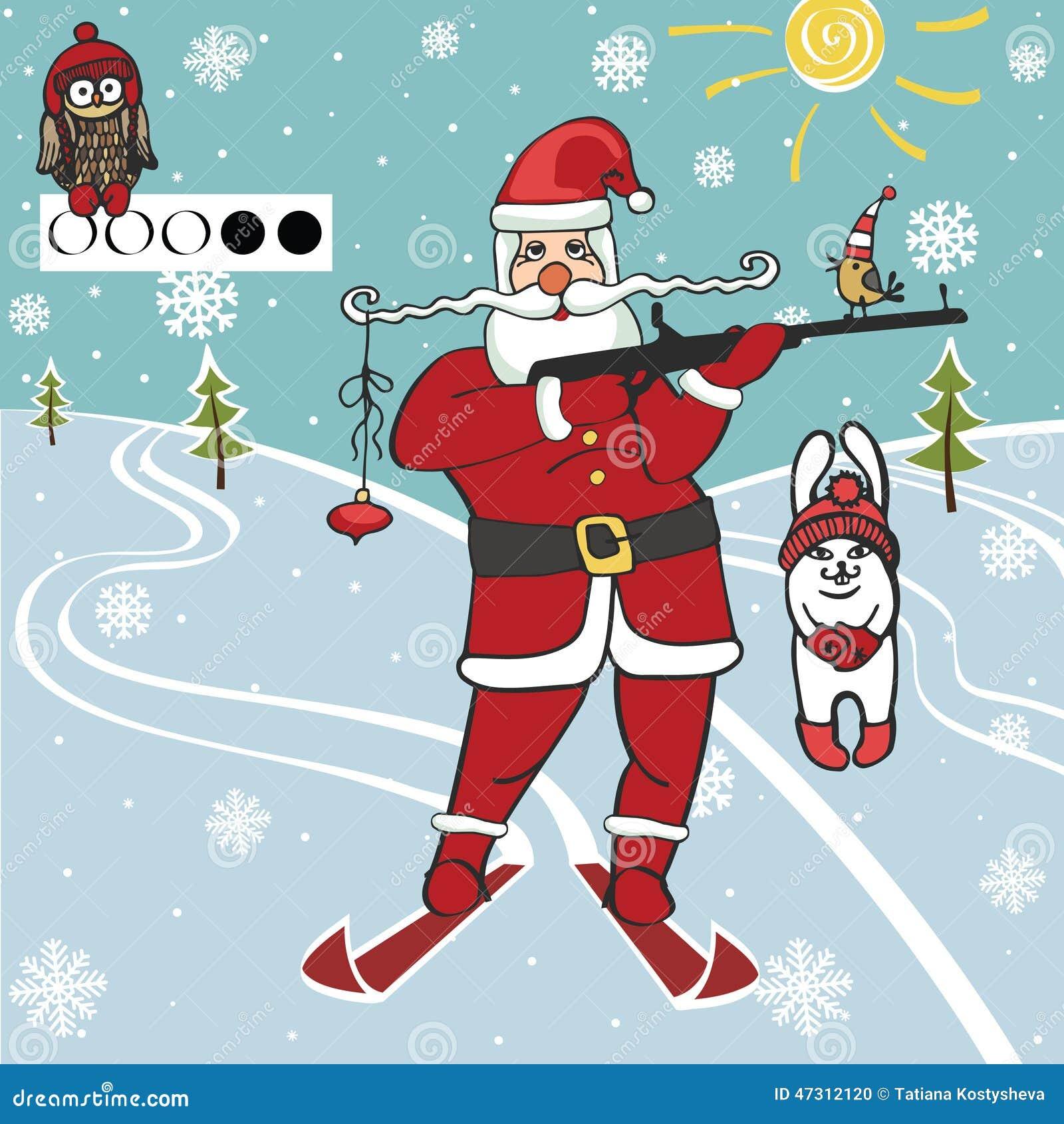 圣诞老人biathlete射击 幽默例证