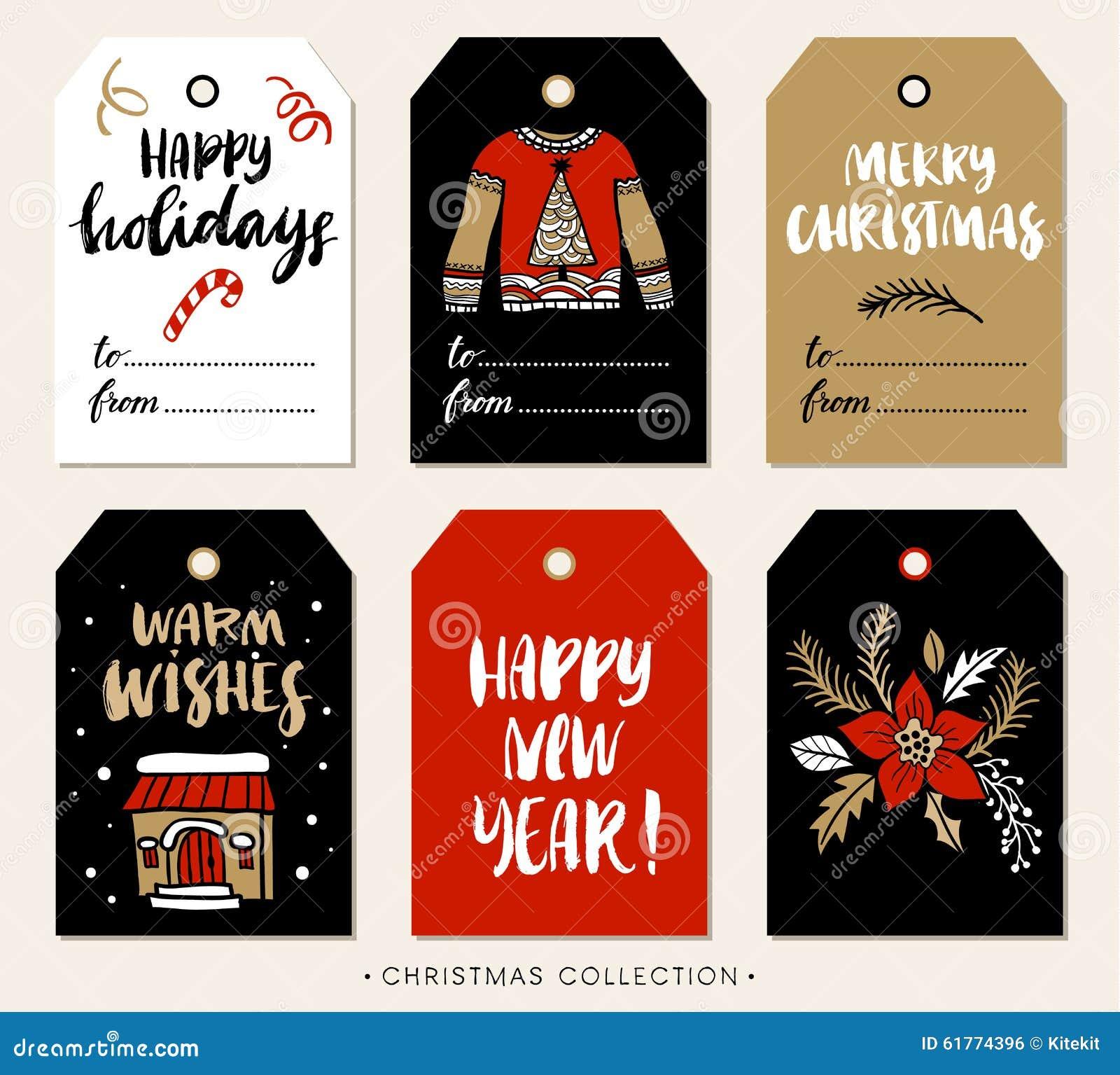 圣诞节与书法的礼物标记 设计被画的要素现有量