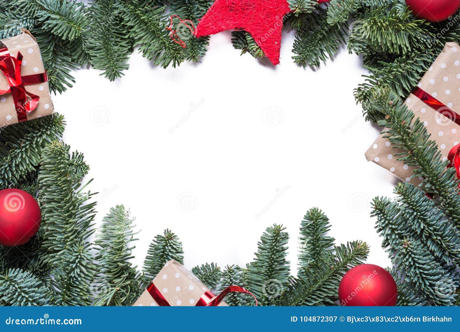 圣诞节与冷杉分支和其他decoratio的背景框架