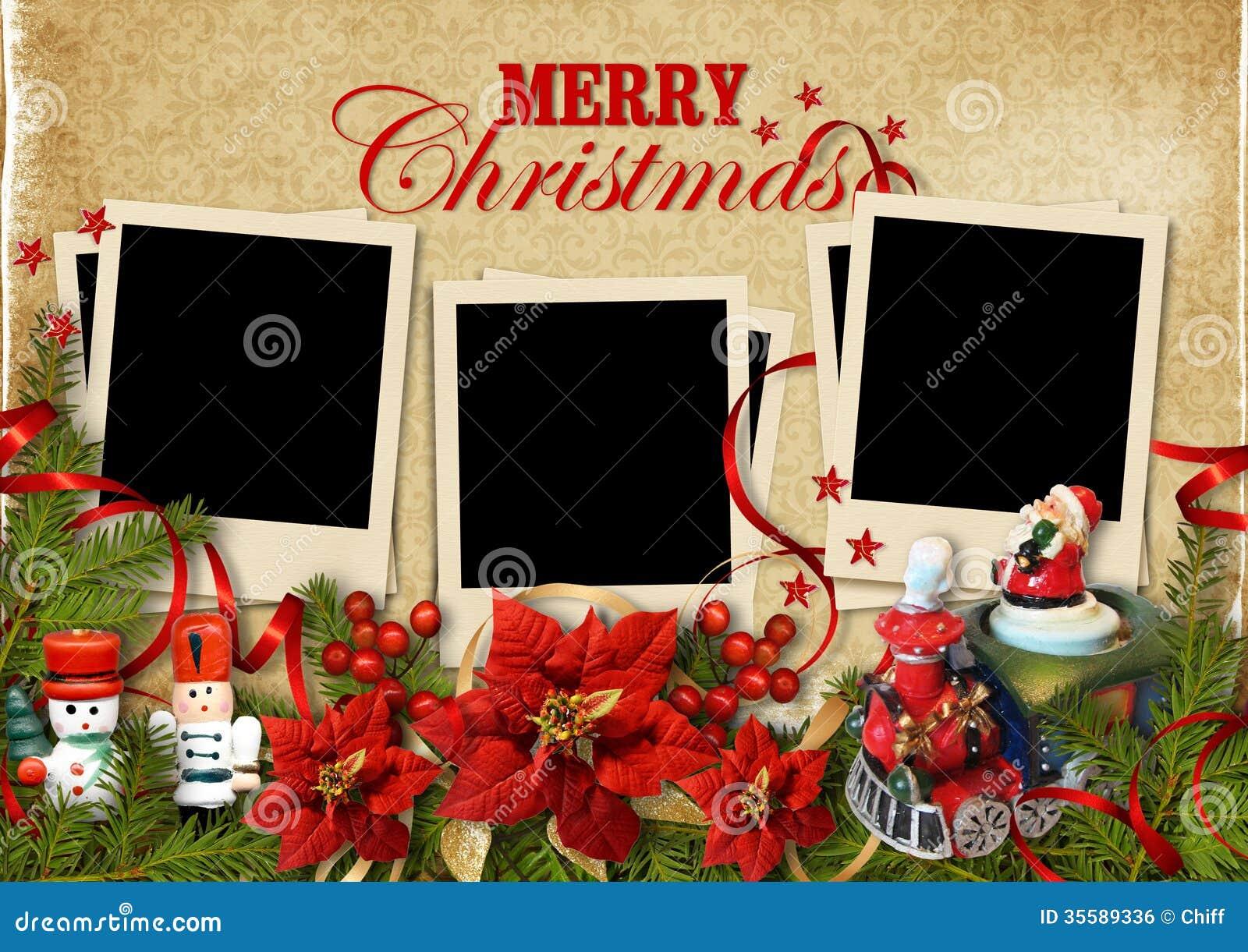 圣诞节与框架的葡萄酒背景的家庭