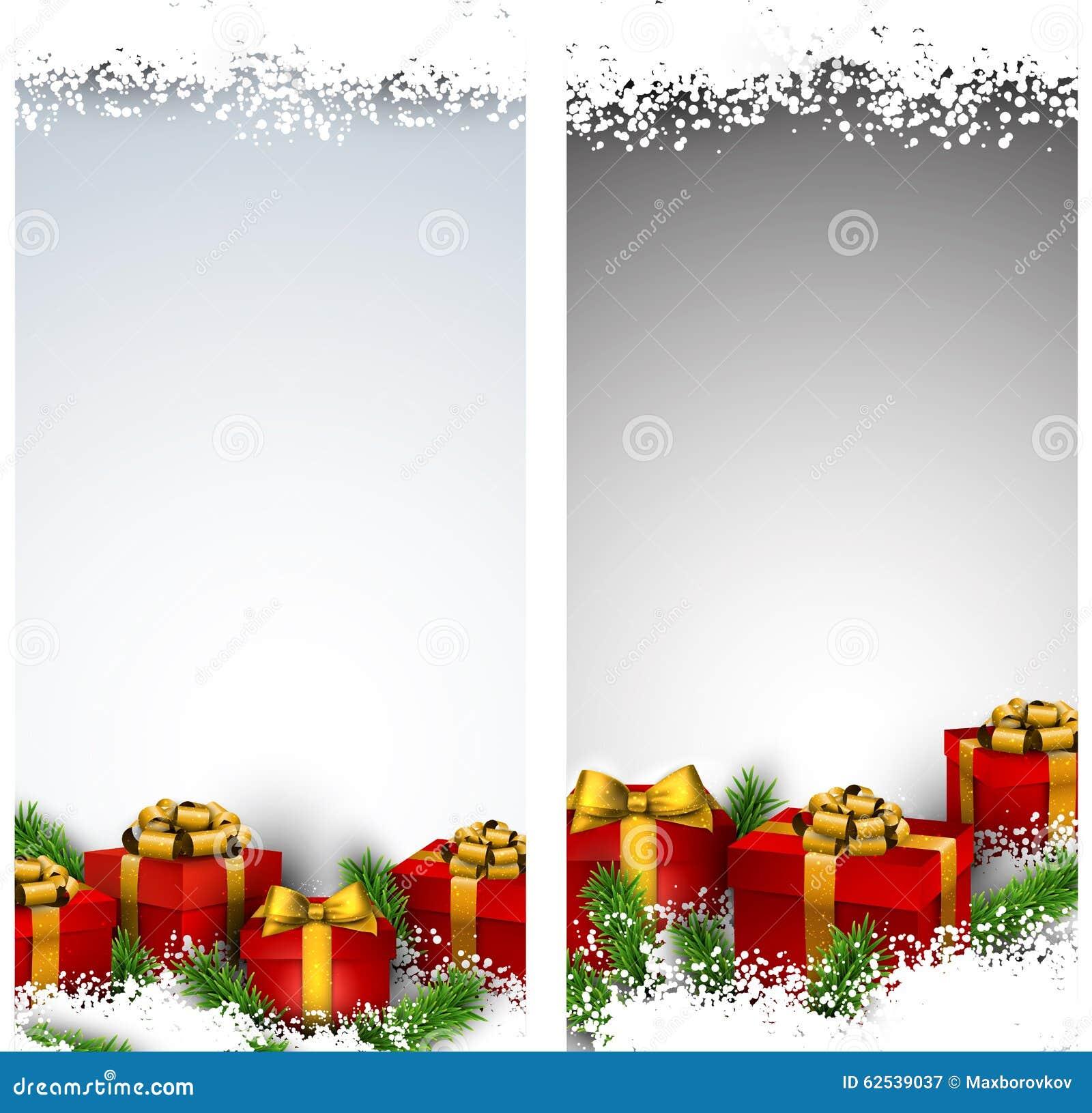 圣诞节与礼物盒的条纹横幅