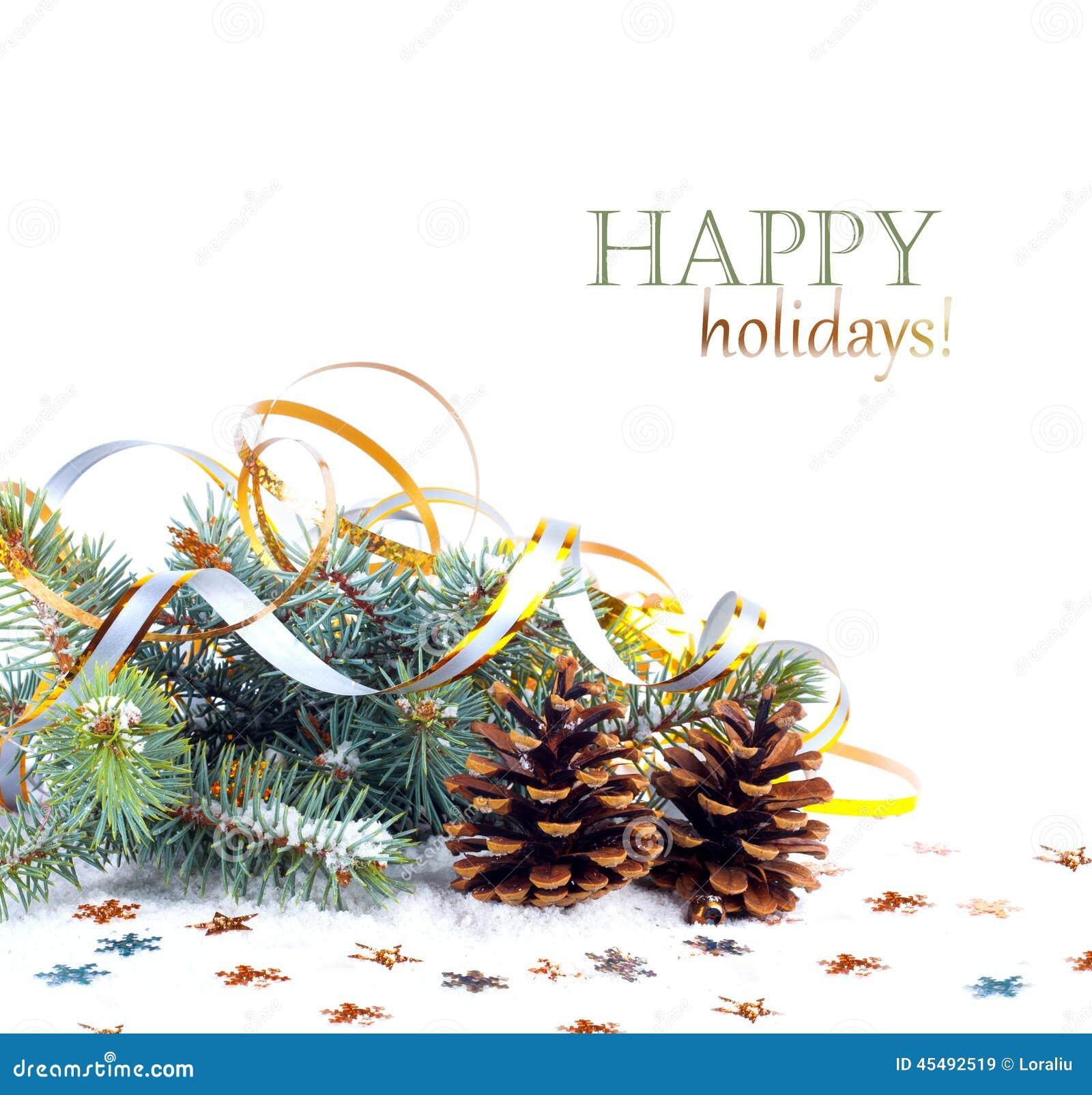圣诞节与金飘带和星的冷杉分支