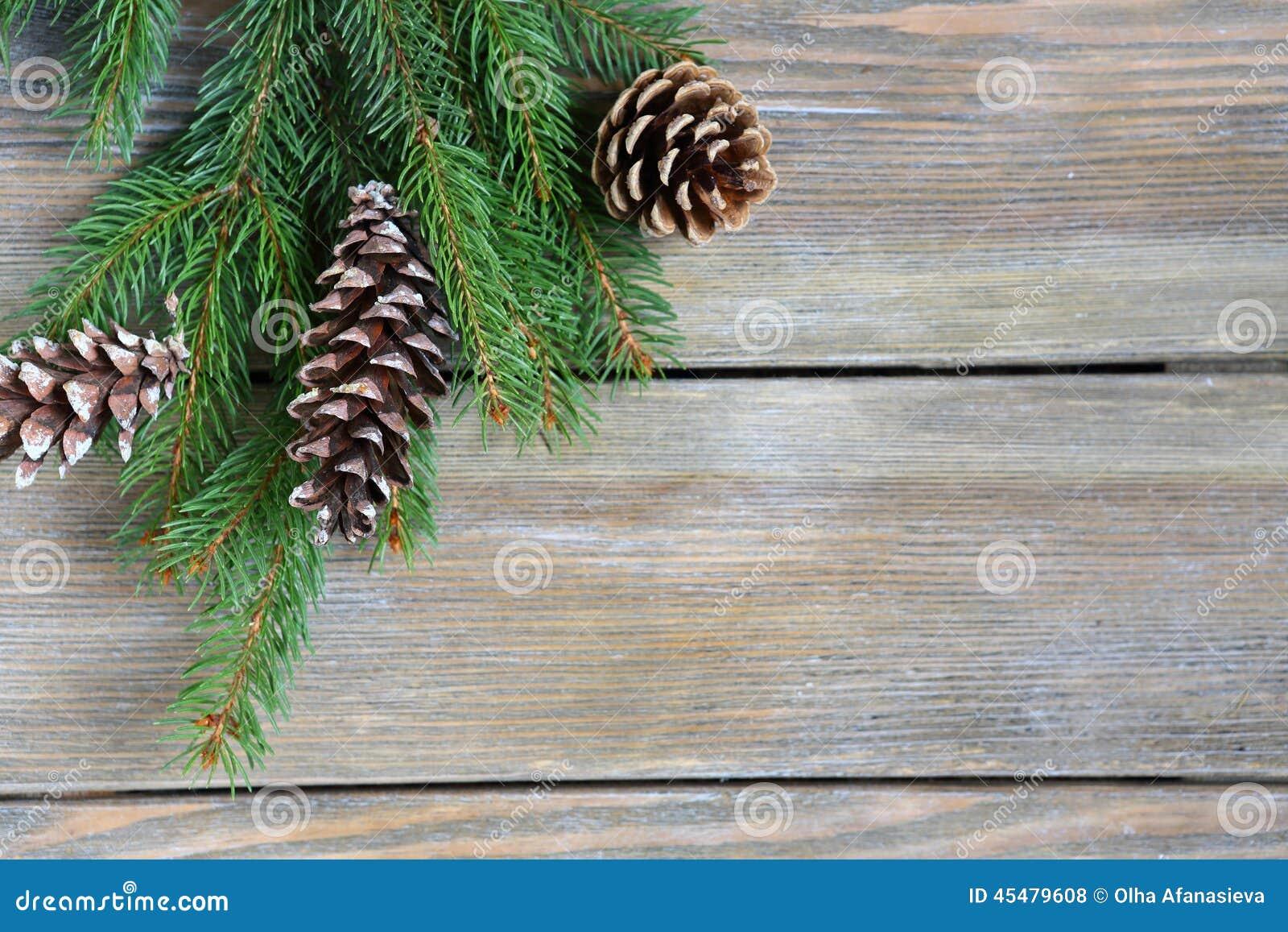 圣诞节与锥体的冷杉分支在木板