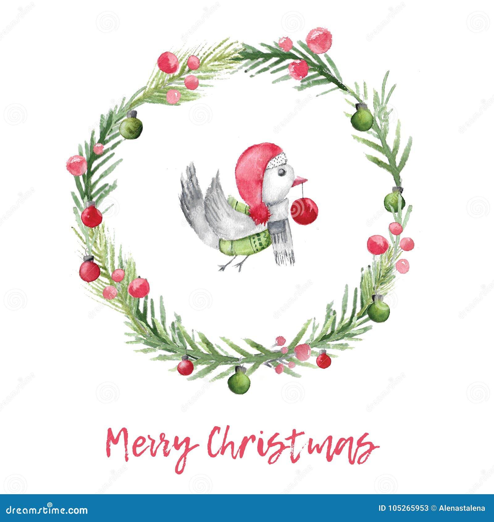圣诞节与鸟的水彩卡片和冷杉缠绕 与土气设计的Xmas装饰