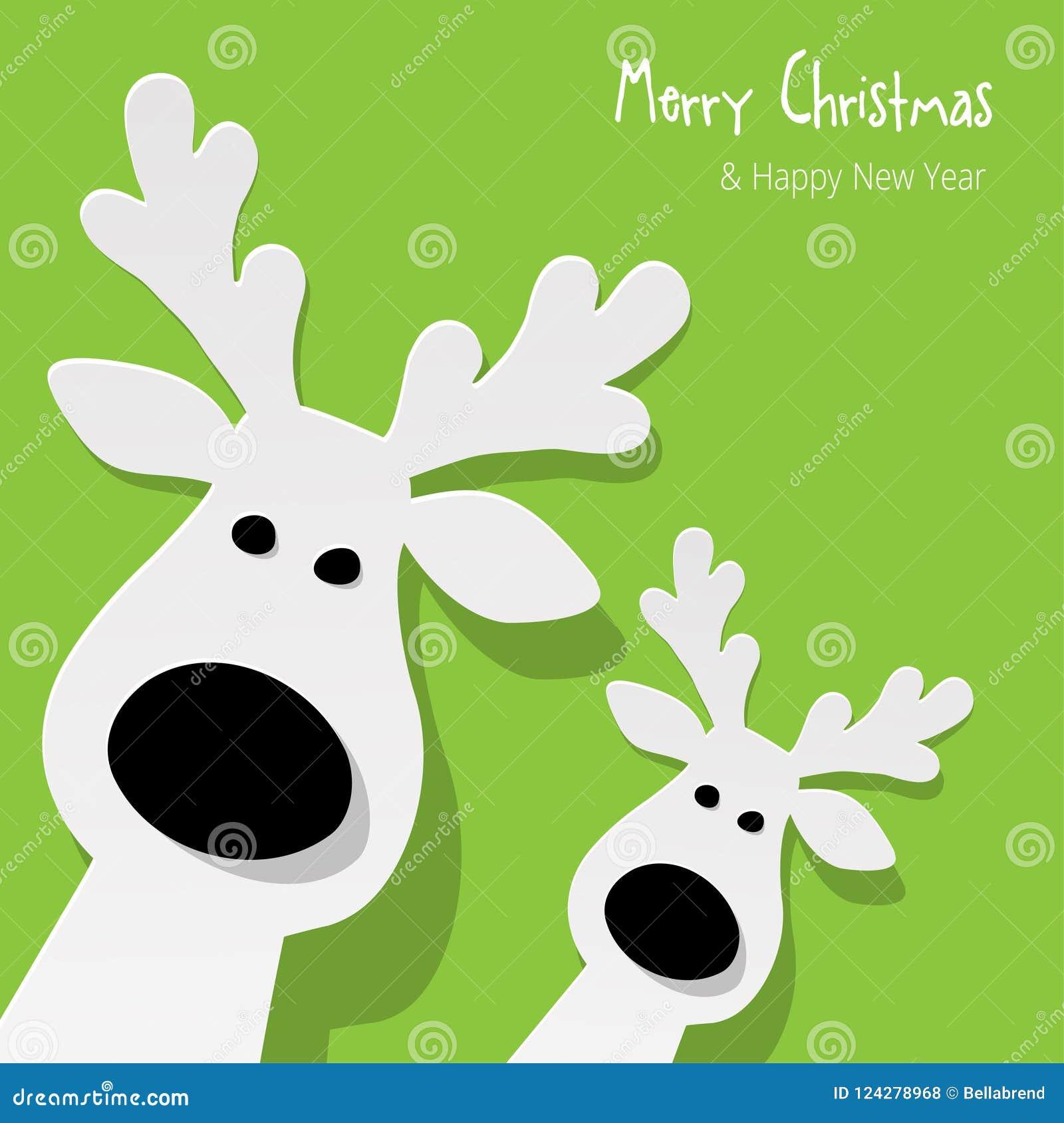 圣诞节两头驯鹿白色在绿色背景