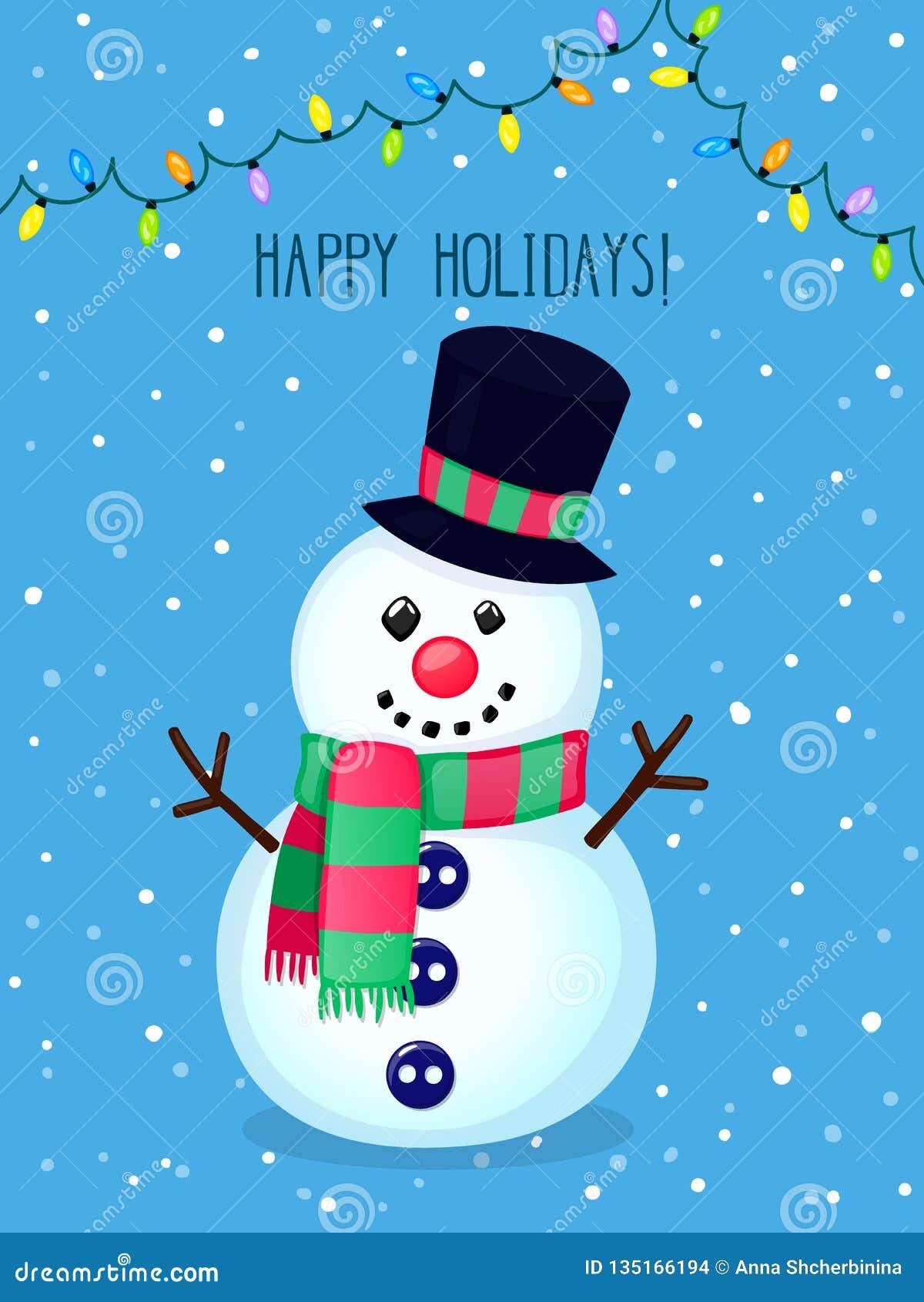 圣诞节传染媒介与滑稽的雪人和电灯的贺卡