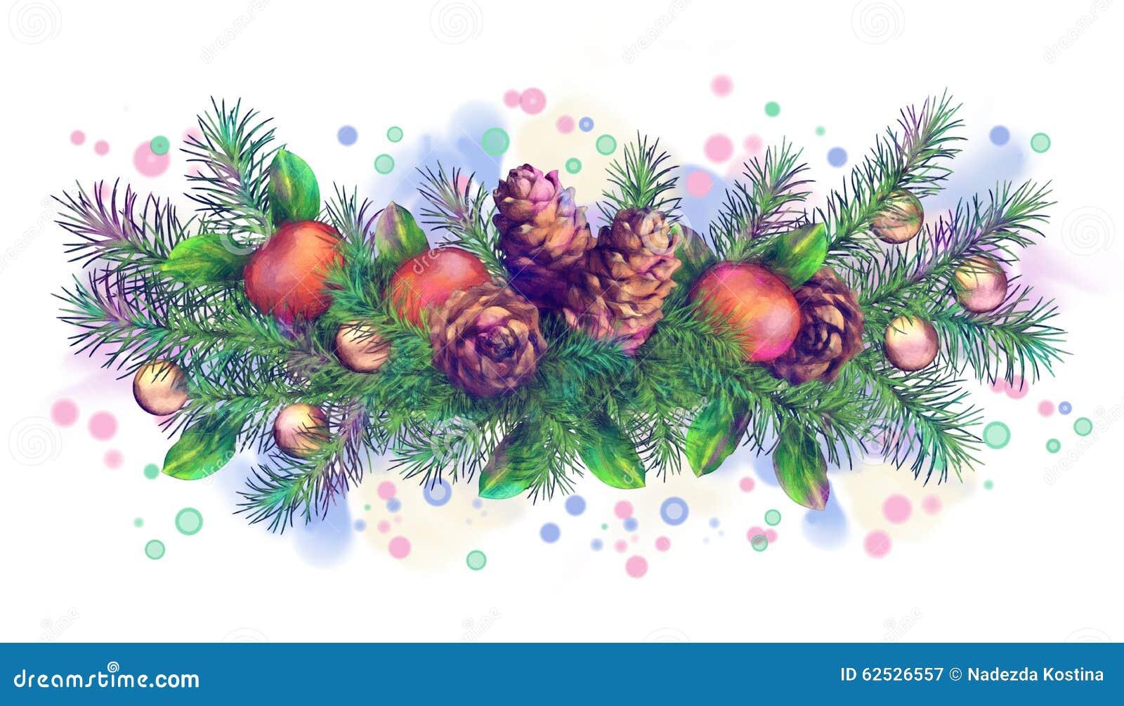 圣诞节假日水彩边界诗歌选