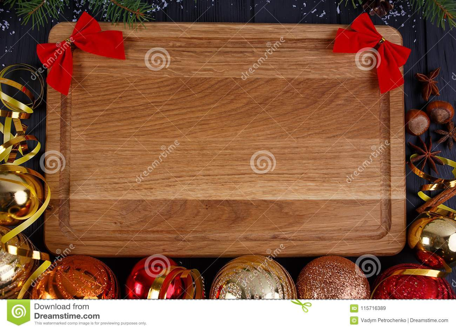 圣诞节厨房,欢乐晚餐,假日食物背景 冷杉