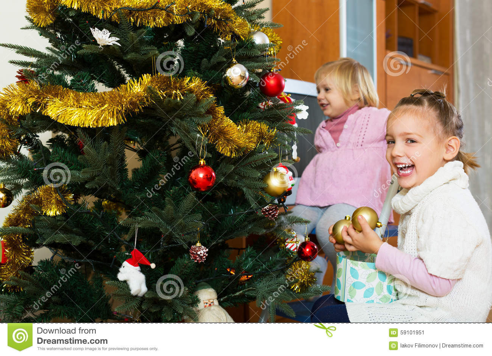 圣诞节女孩少许结构树