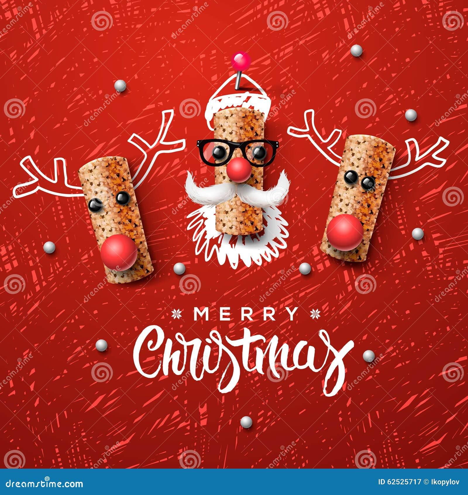 圣诞节字符、圣诞老人和驯鹿