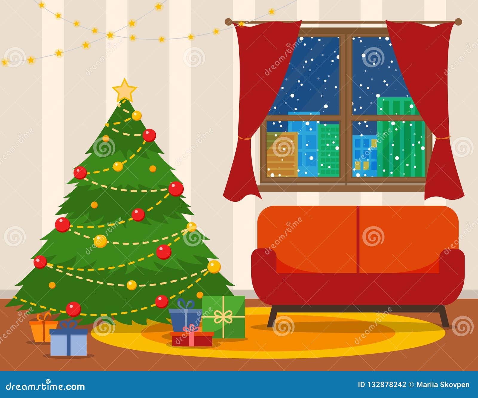 圣诞节室内部 与沙发的圣诞树 平的样式传染媒介例证