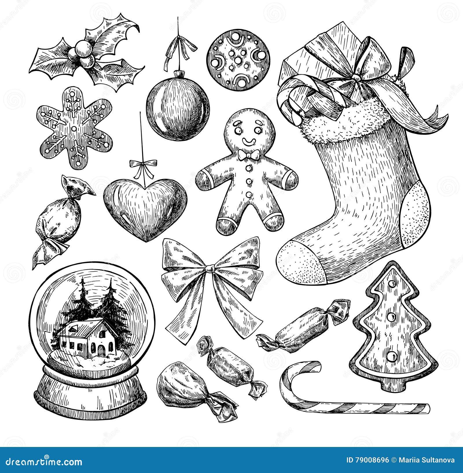 圣诞节对象集合 手拉的向量例证 Xmas象