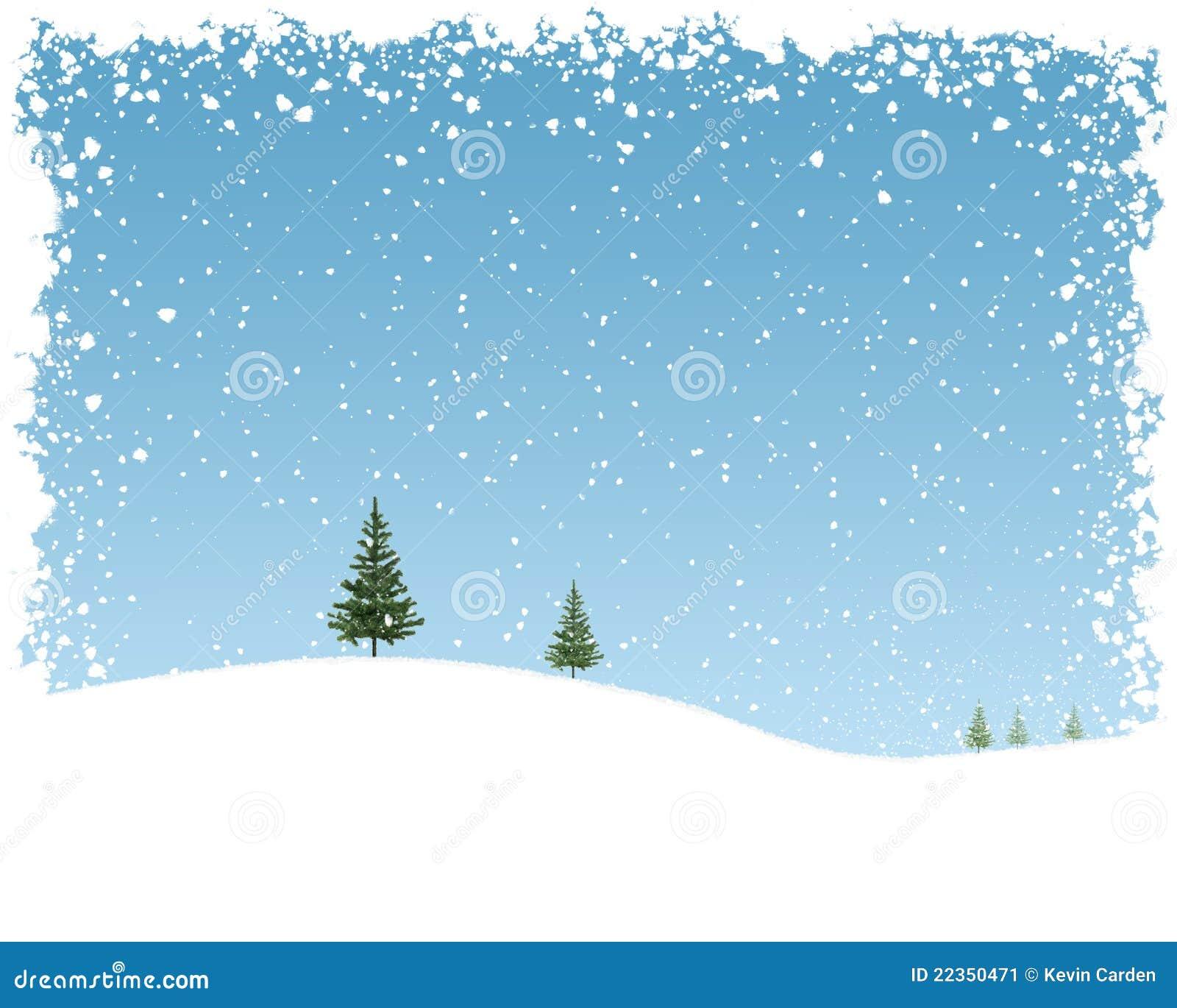 圣诞节小山多雪的风暴结构树