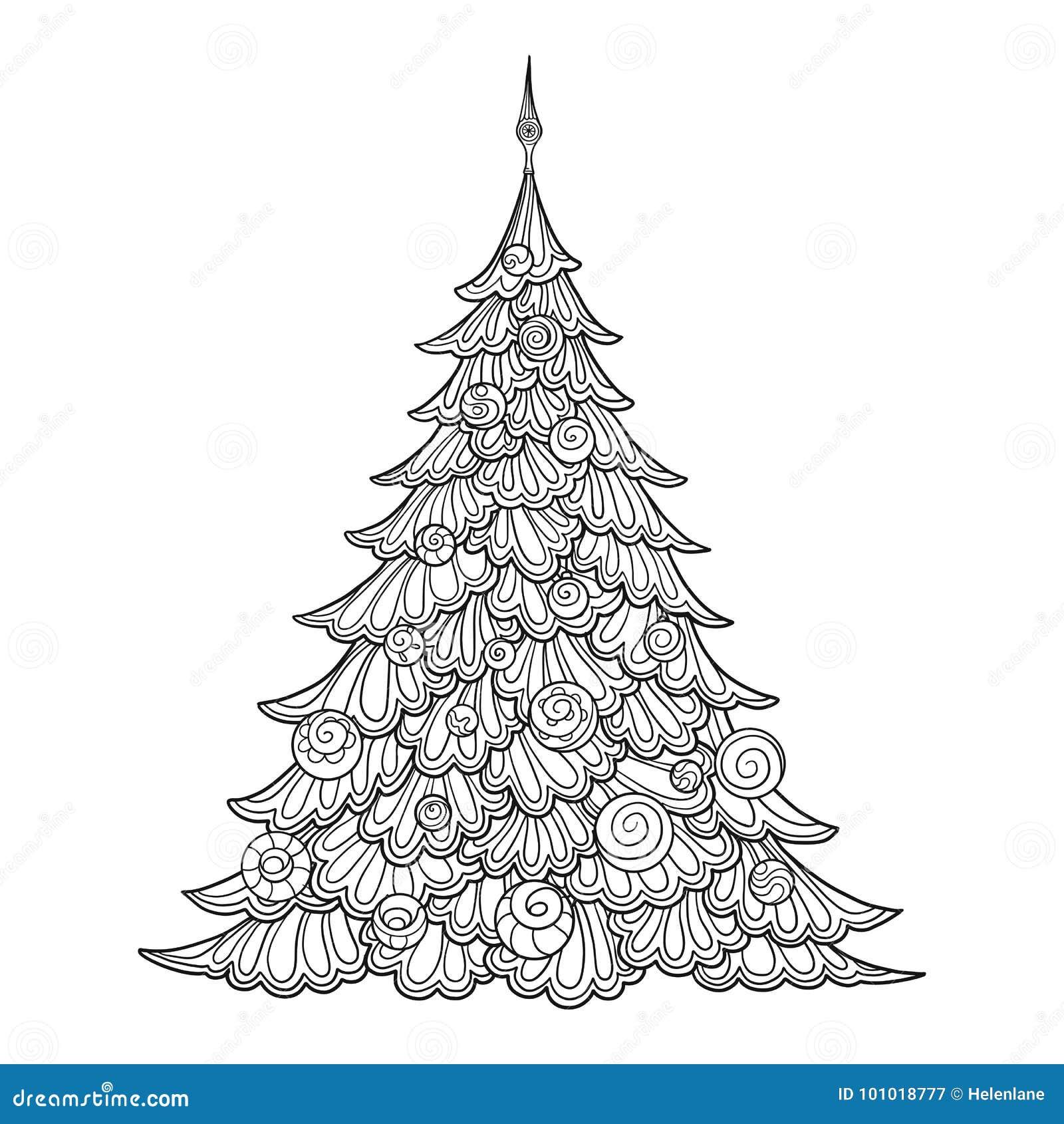圣诞节我的投资组合结构树向量版本 等高图画 有益于上色成人彩图的页