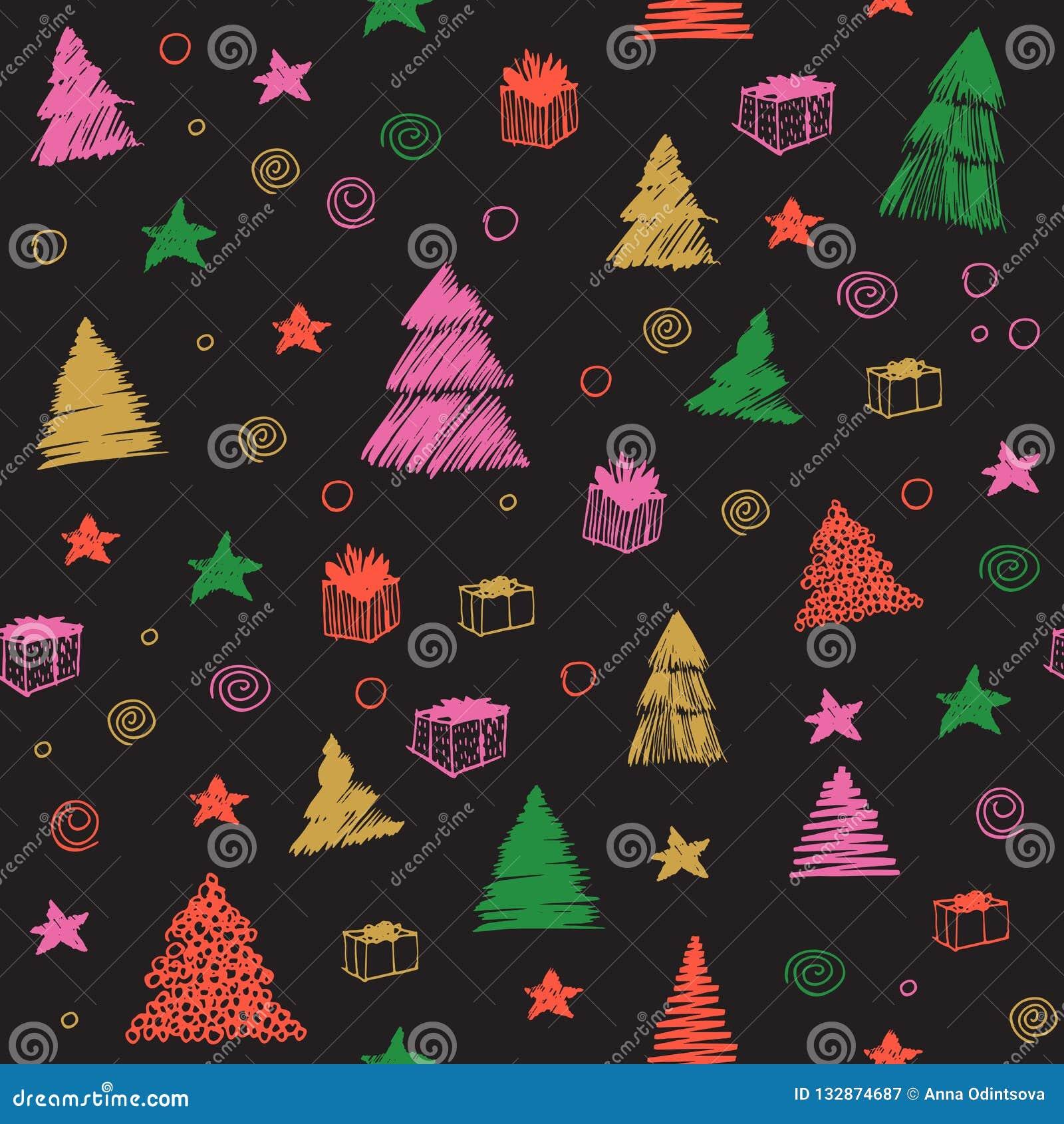圣诞节模式无缝的结构树 手拉的传染媒介彩图剪影 背景逗人喜爱的乱画