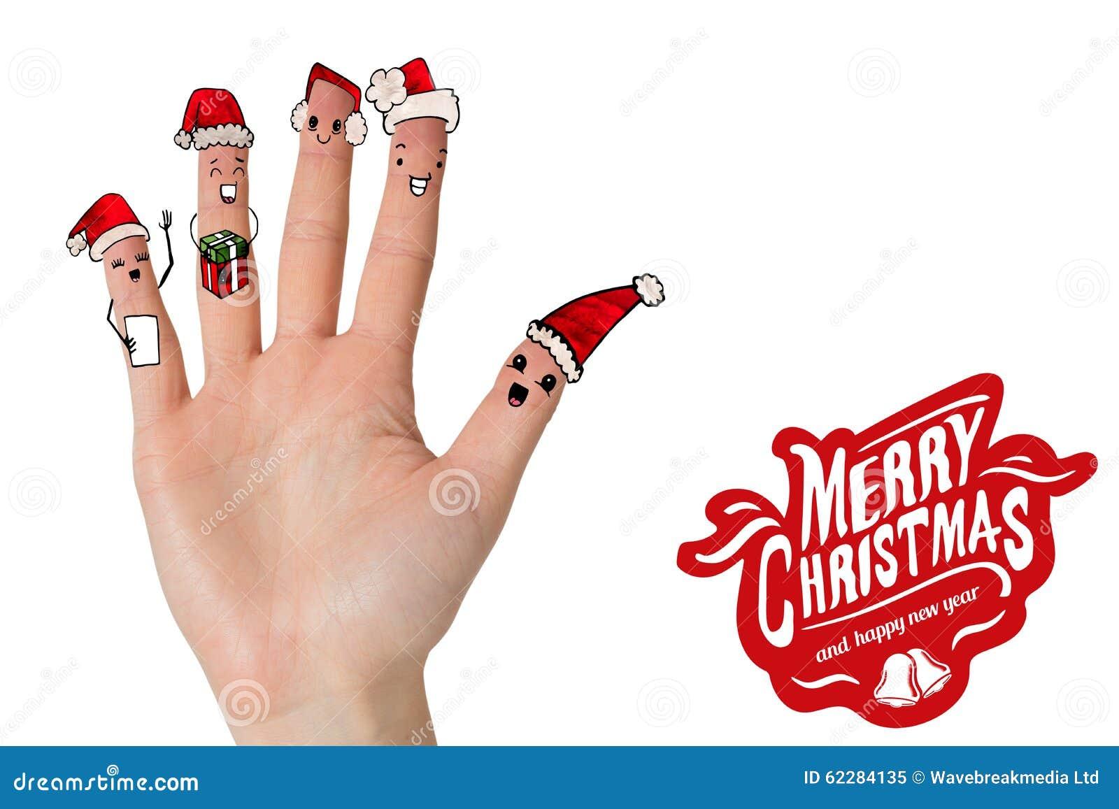 圣诞节欢唱手指的综合图象