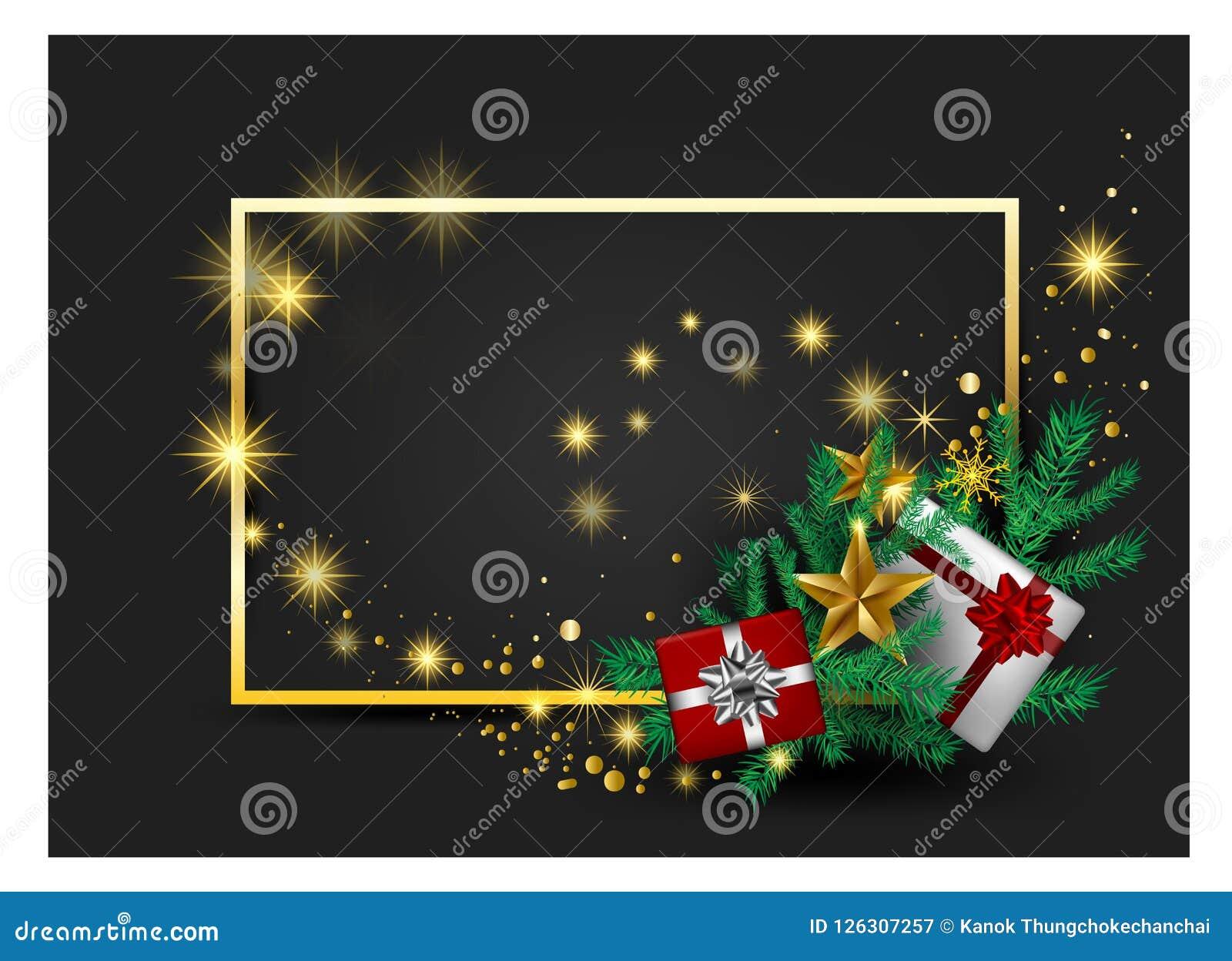 圣诞节灰色在红色金丝带的背景卡片,招呼cardsred的和装饰品与金黄星和礼物盒传染媒介与