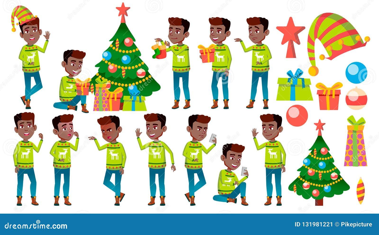 圣诞节男孩摆在集合传染媒介 投反对票 美国黑人 新年度 活跃逗人喜爱的孩子 对网,小册子,海报设计