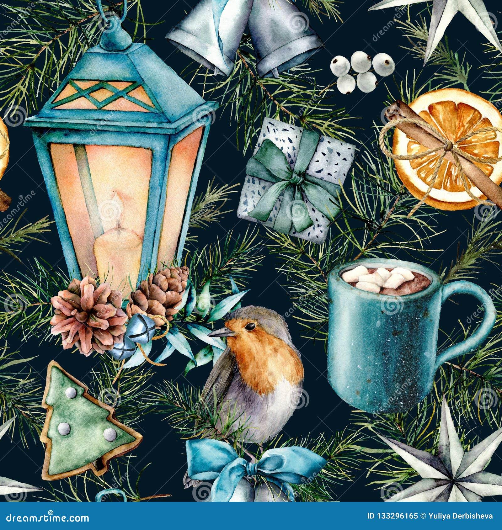 圣诞节的水彩斯堪的纳维亚样式 手画灯笼,响铃,知更鸟,曲奇饼,橙色切片,恶杯子