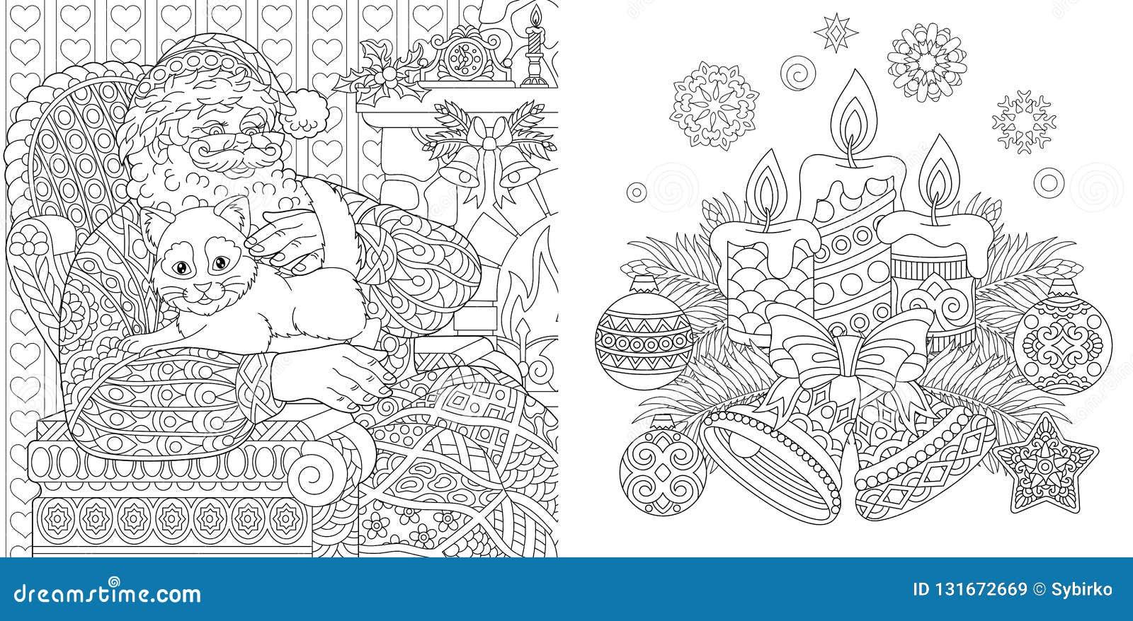 圣诞节着色页 成人的彩图 有猫的圣诞老人 背景新年度 葡萄酒Xmas装饰品