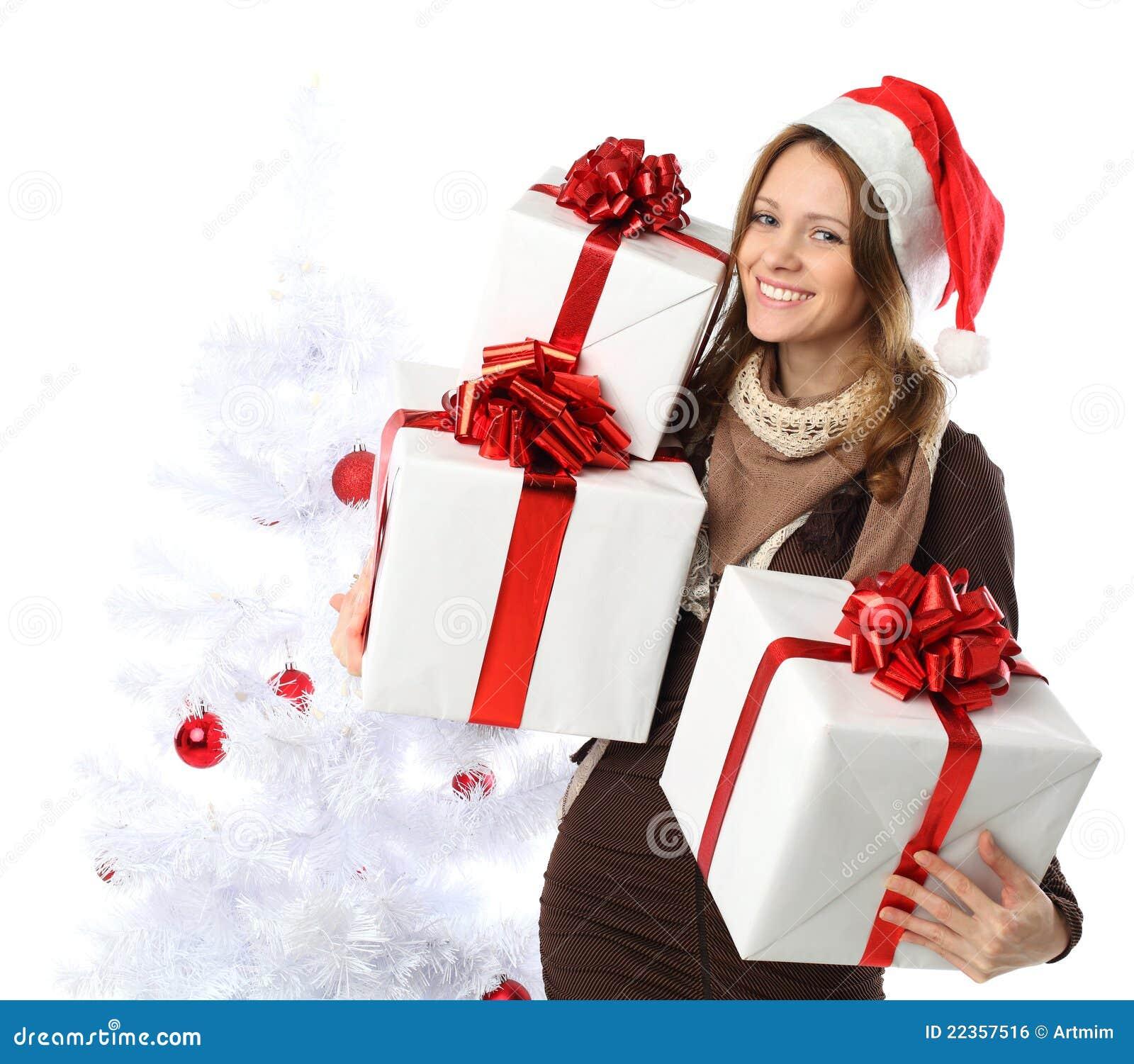 圣诞节礼品微笑的结构树妇女
