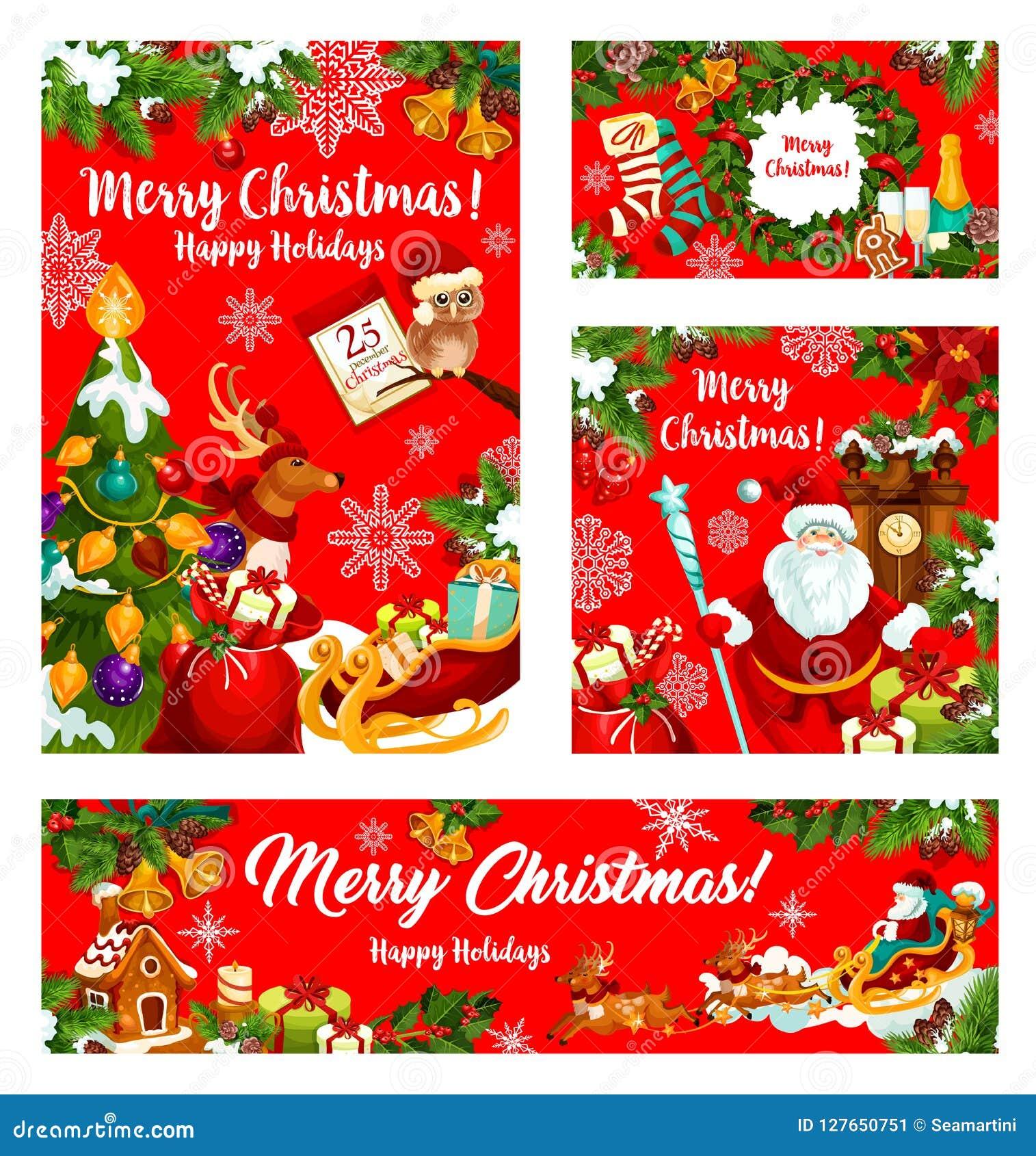 圣诞节礼物和圣诞老人新年假日横幅