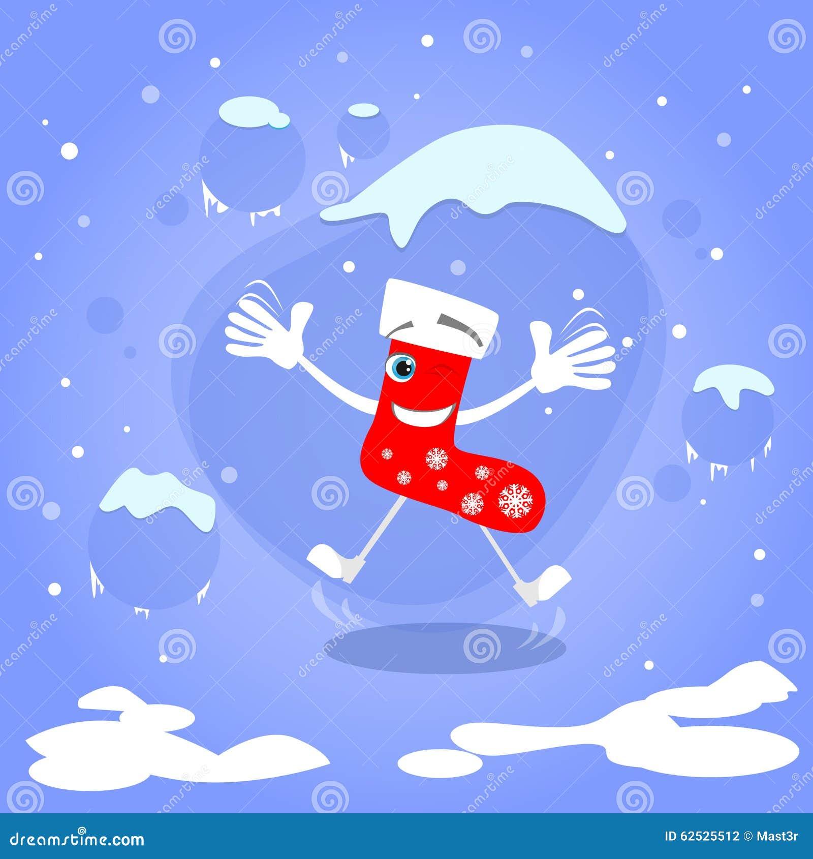 圣诞节红色袜子跳跃激动的微笑动画片