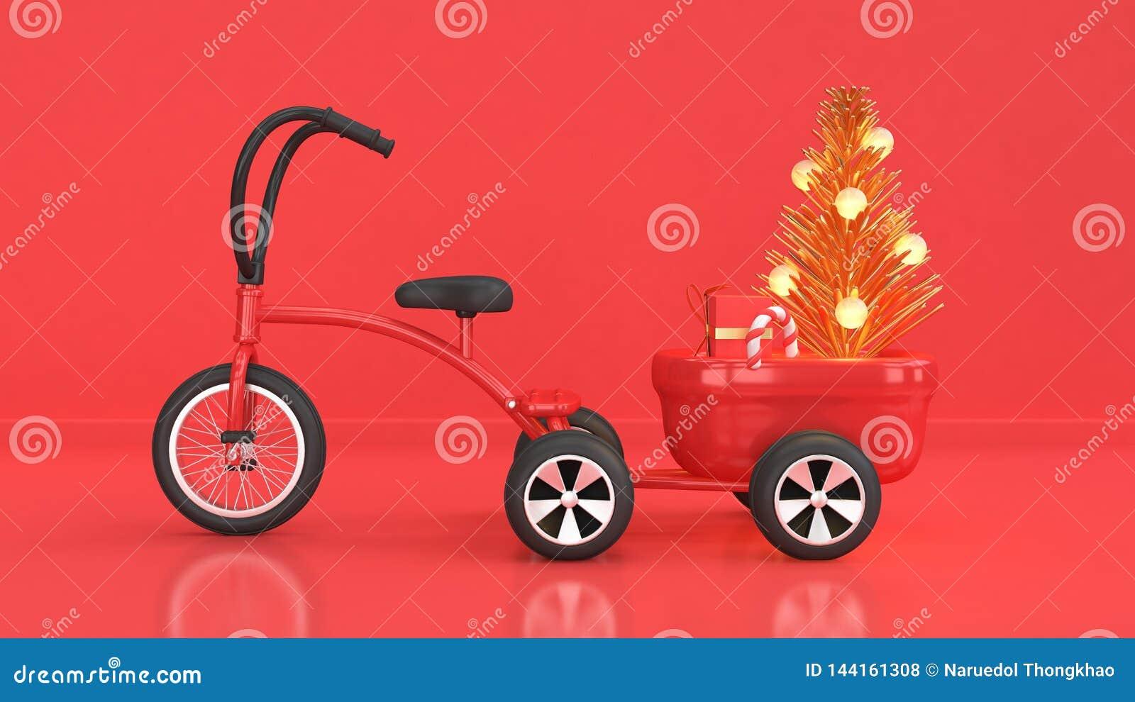圣诞节背景新年与孩子三轮车自行车拖车装载摘要圣诞树礼物盒稀土的假日概念红色场面