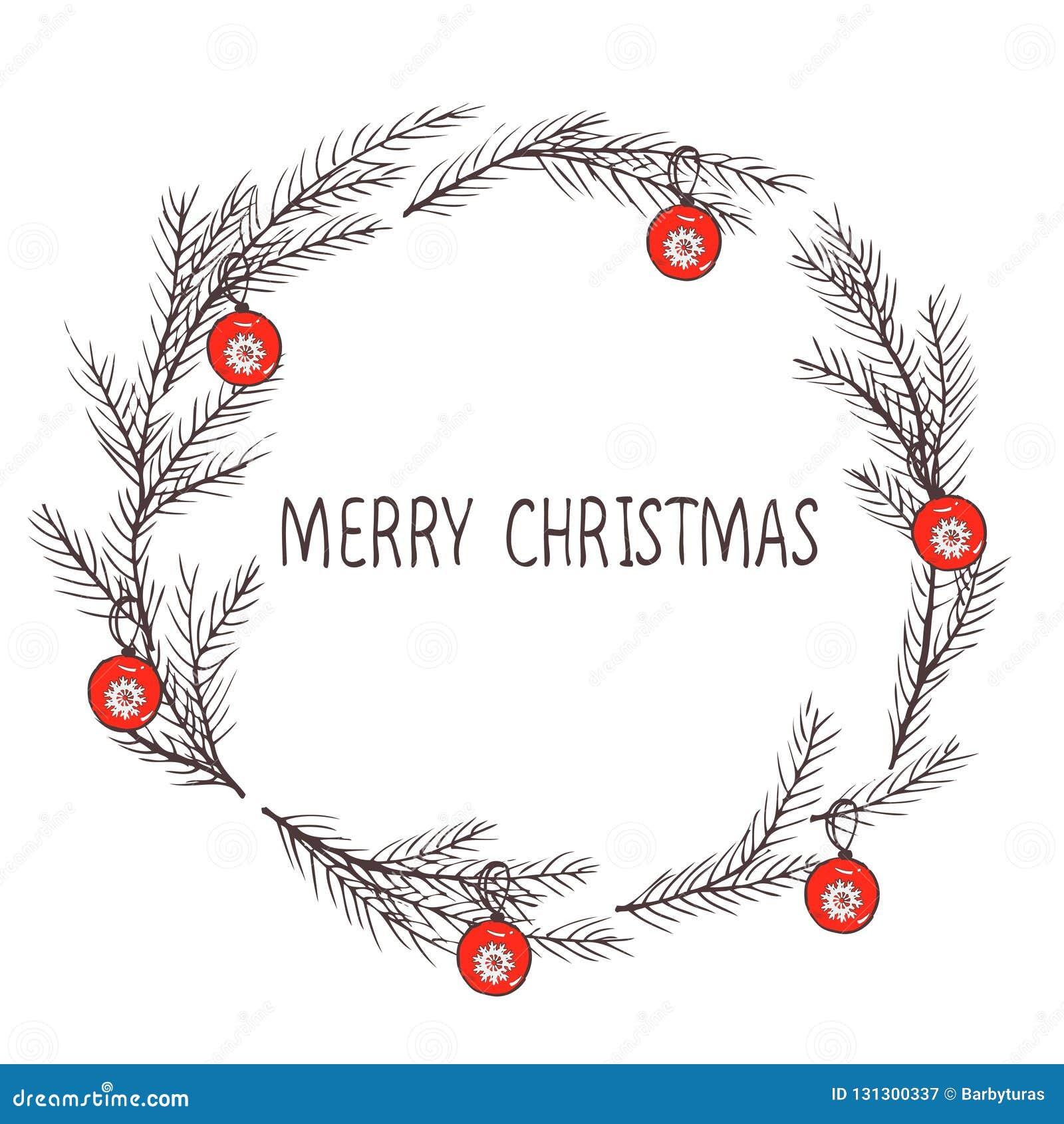 圣诞节花圈,冷杉花圈的传染媒介图象  圣诞快乐题字在中心 球圣诞节查出的心情三白色 普遍用途