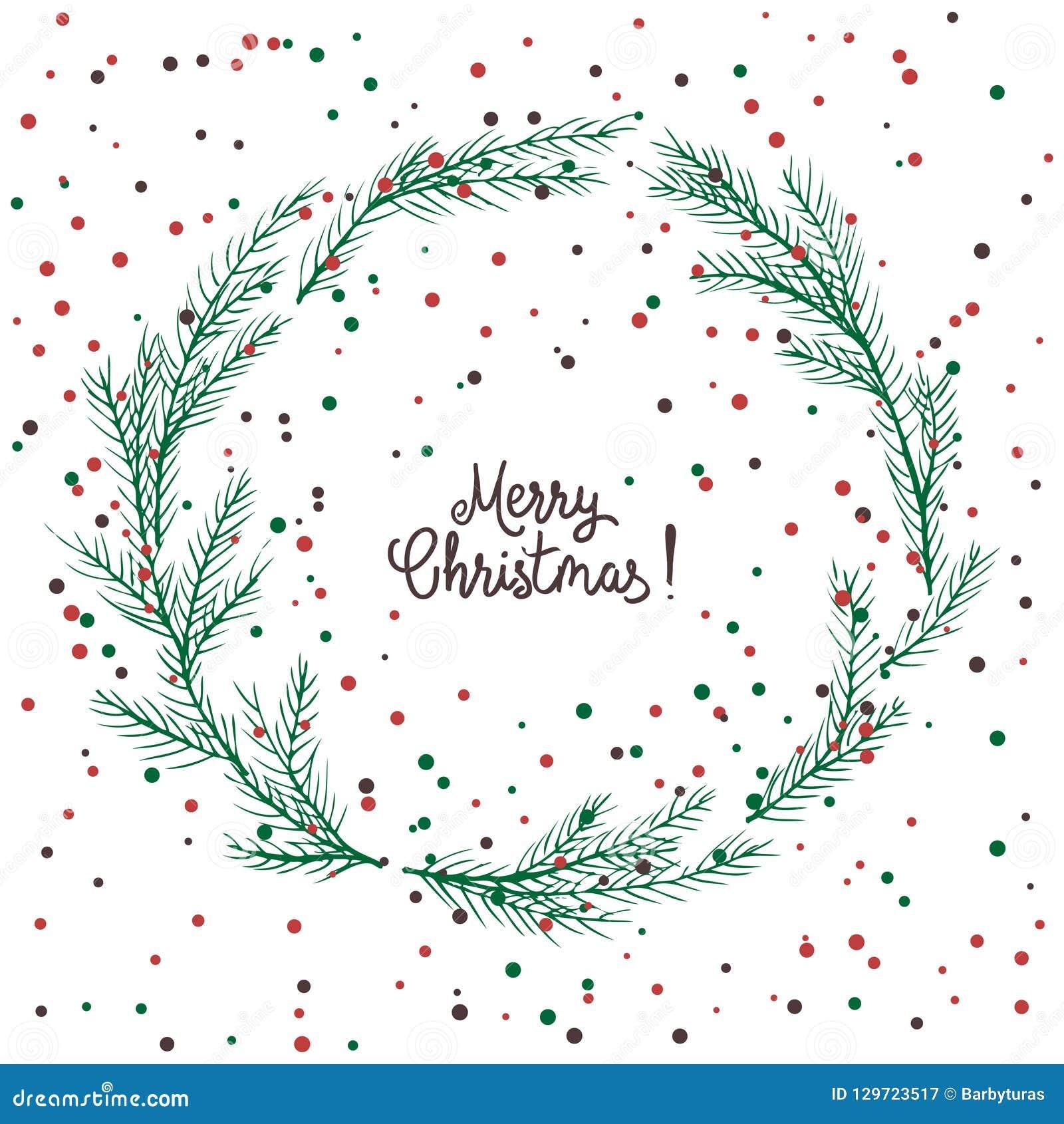 圣诞节花圈,绿色冷杉花圈的传染媒介图象  圣诞快乐题字在中心 球圣诞节查出的心情三白色 普遍我们