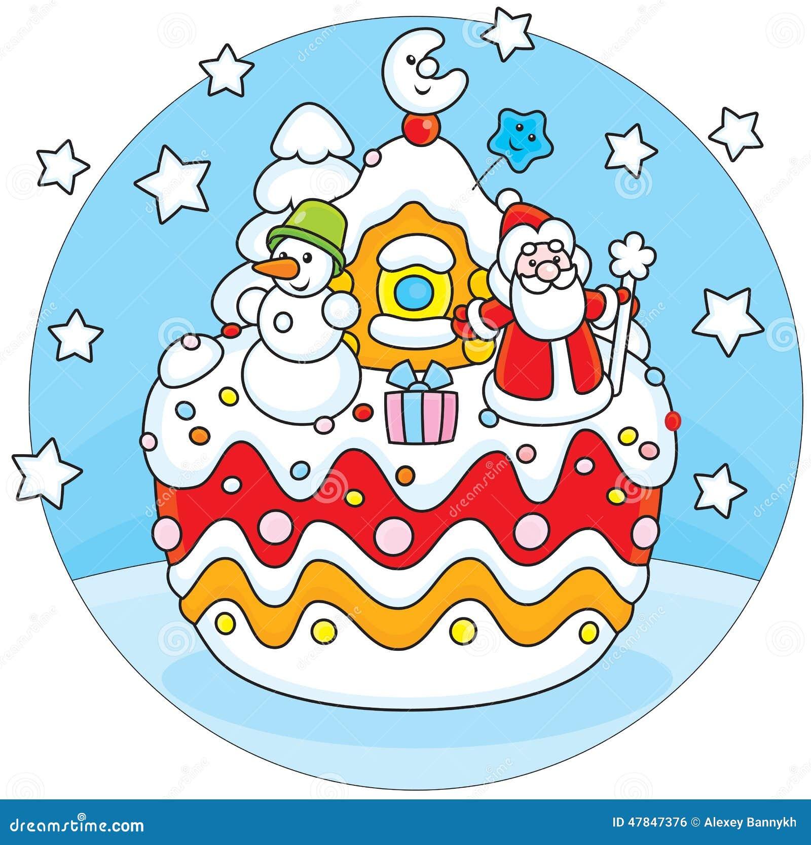 与父亲圣诞节他的房子和雪人的假日蛋糕.图片