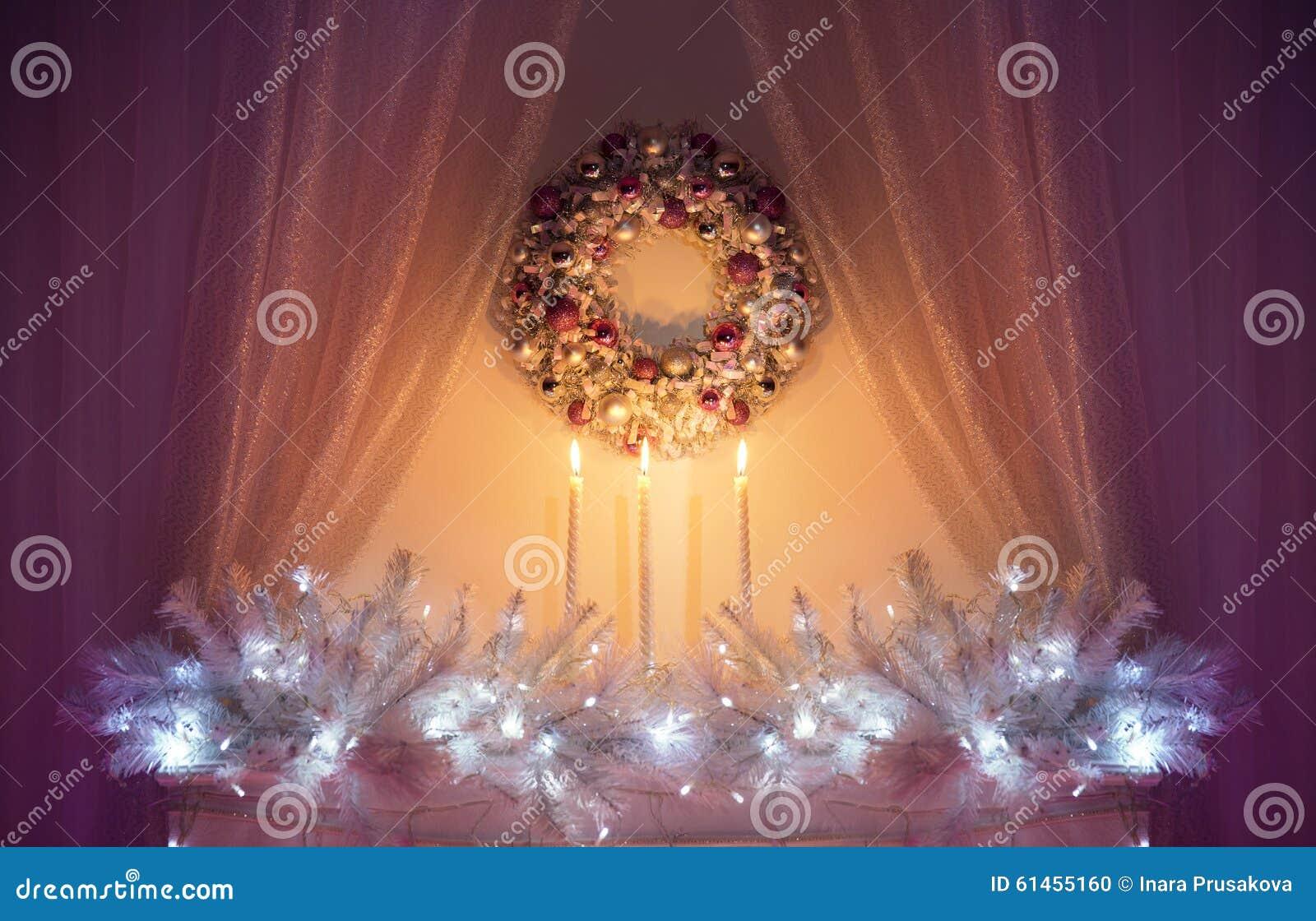 圣诞节装饰光, Xmas装饰树枝,花圈蜡烛