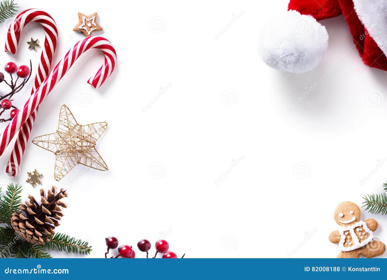 圣诞节装饰和假日甜在白色背景