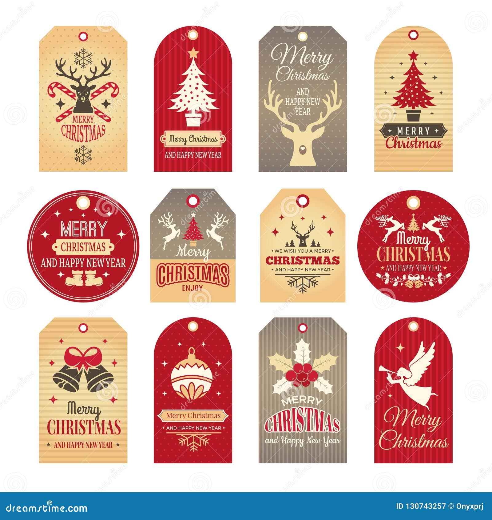 圣诞节装饰查出的标签 假日标记和徽章与滑稽的冬天新年元素和传染媒介雪例证