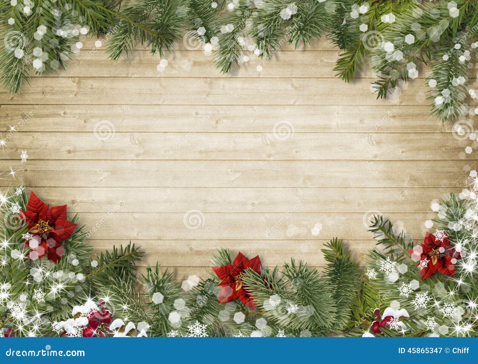 圣诞节边界有一品红onold木头背景