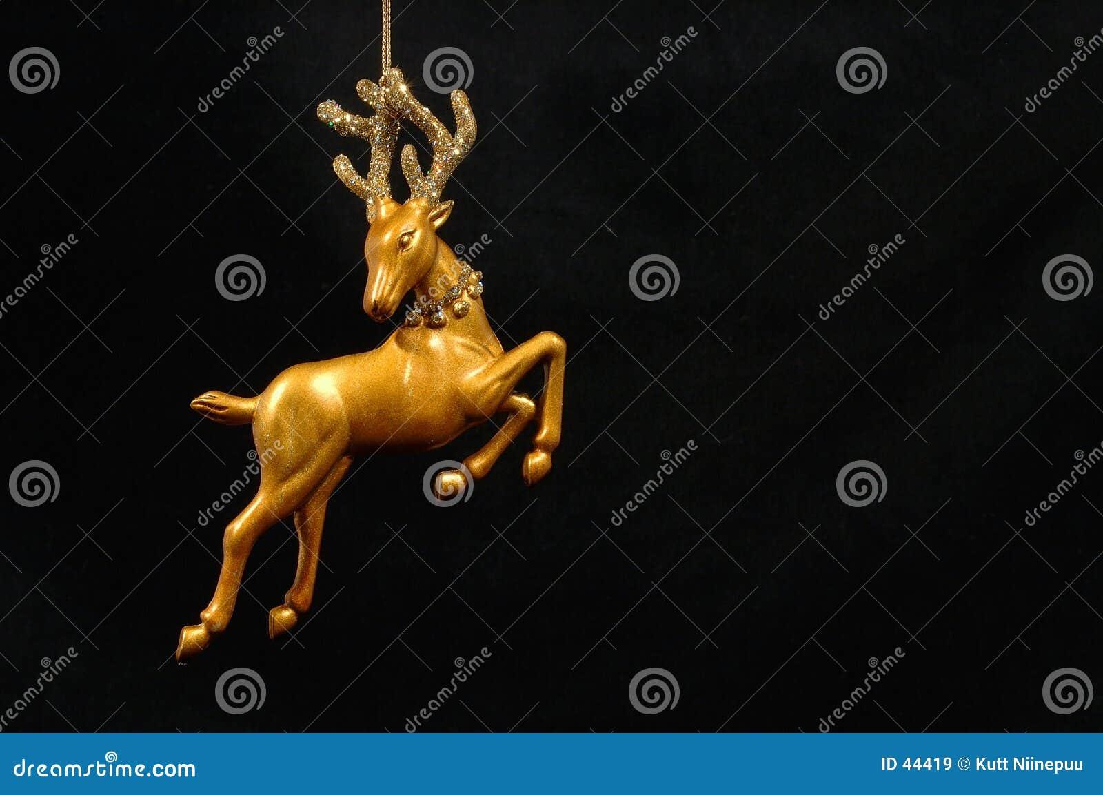 圣诞节金黄装饰品驯鹿